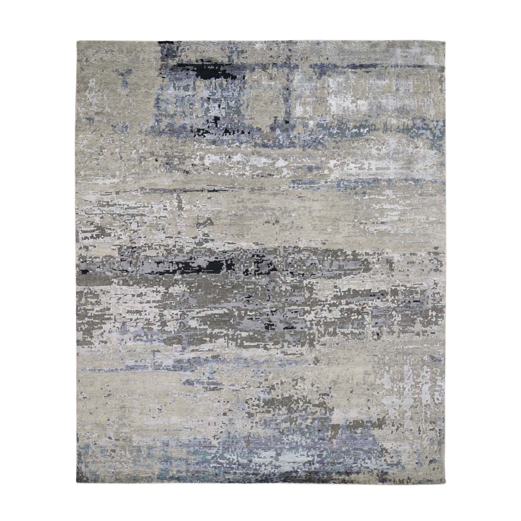 "8'x9'9"" Gray Abstract Design Wool And Silk Hand Knotted Oriental Rug"