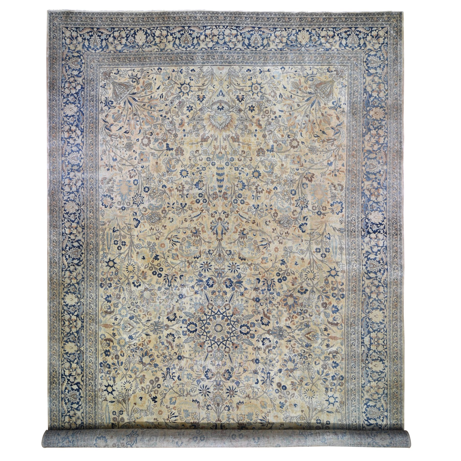 "13'7""x23' Oversize Antique Soft Colors Persian Khorasan Even Wear Hand Knotted Oriental Rug"