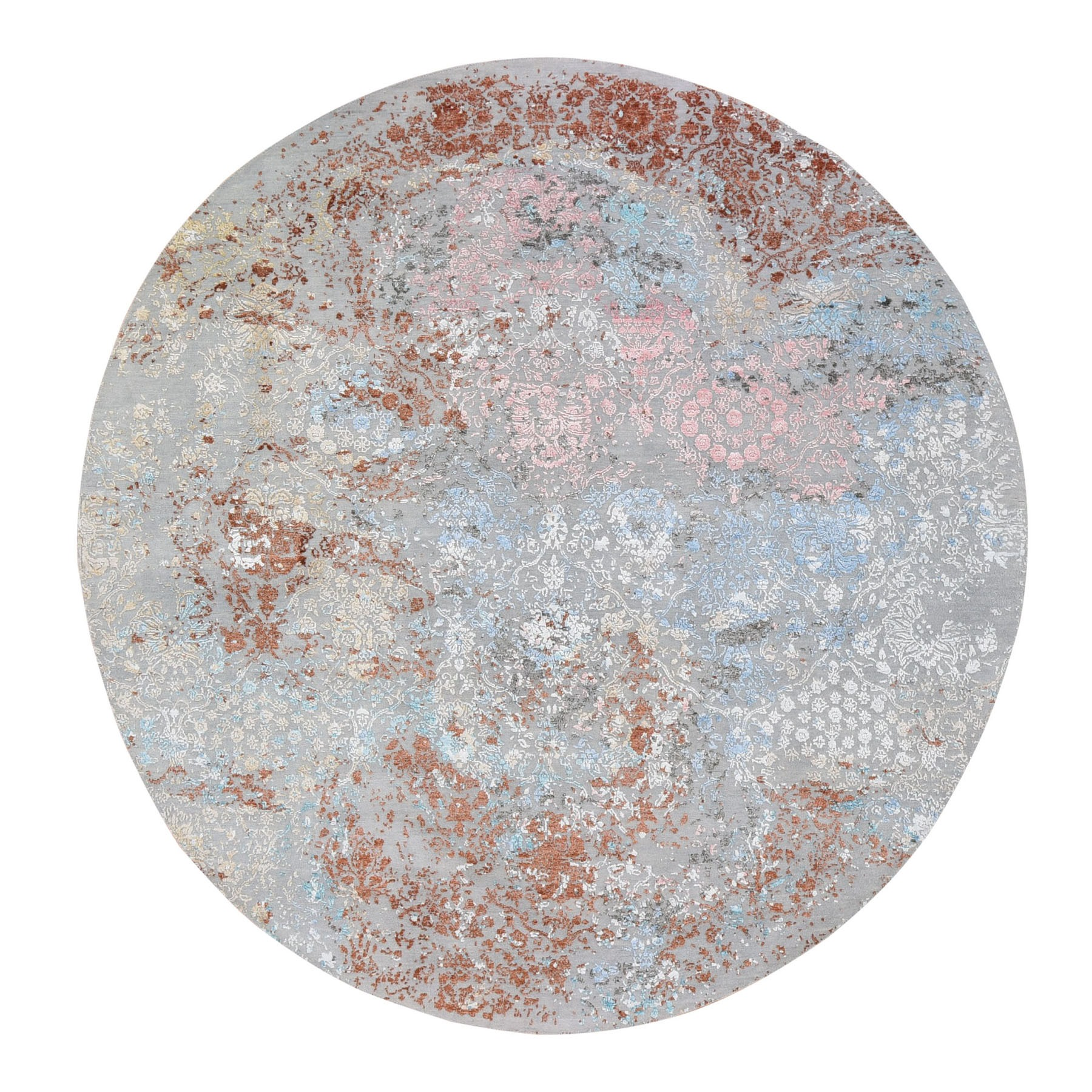 8'x8' Pastels Transitional Design Wool And Silk Hi-Low Pile Denser Weave Round Hand Knotted Oriental Rug