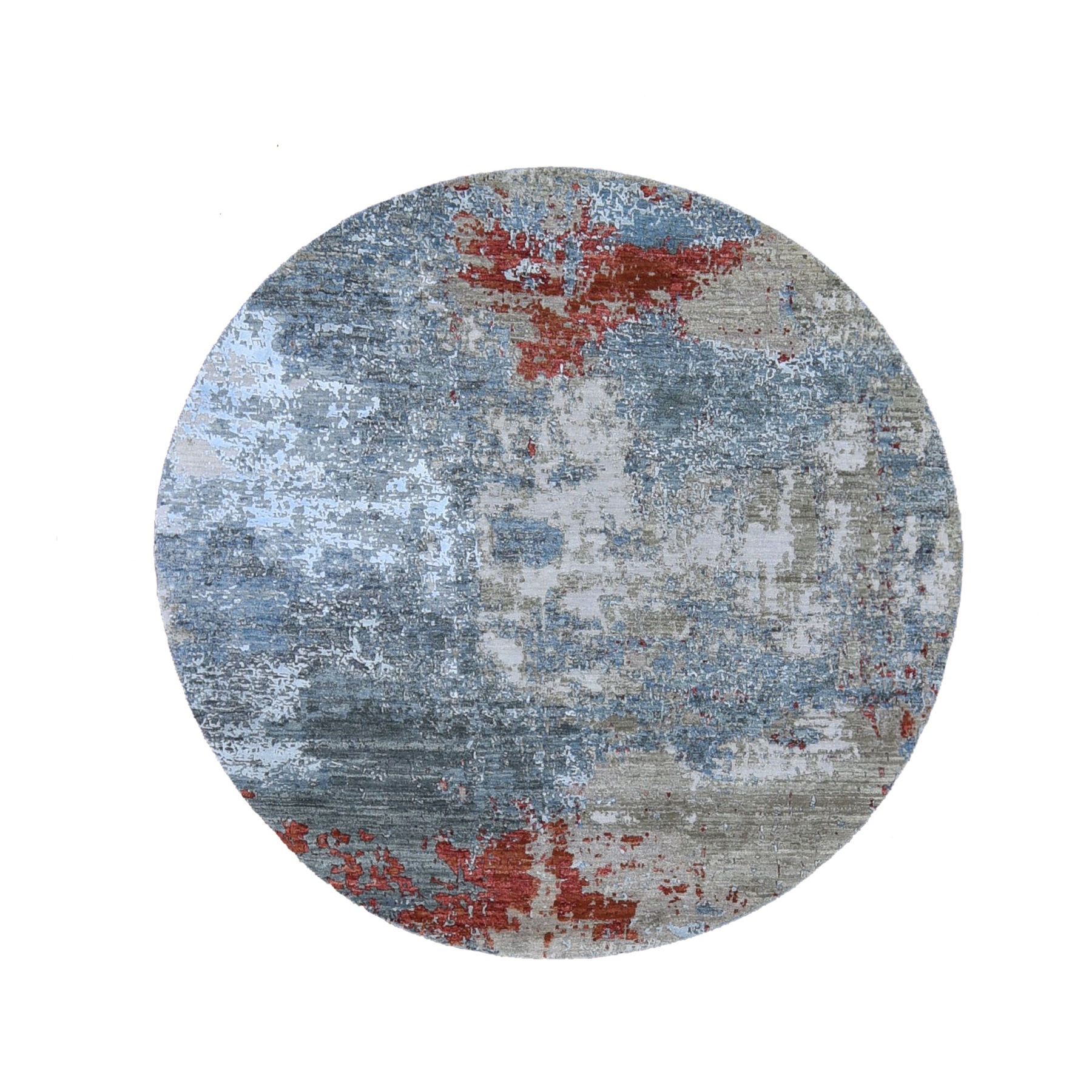 6'x6' Round Abstract Design Wool And Silk Hand Knotted Oriental Rug