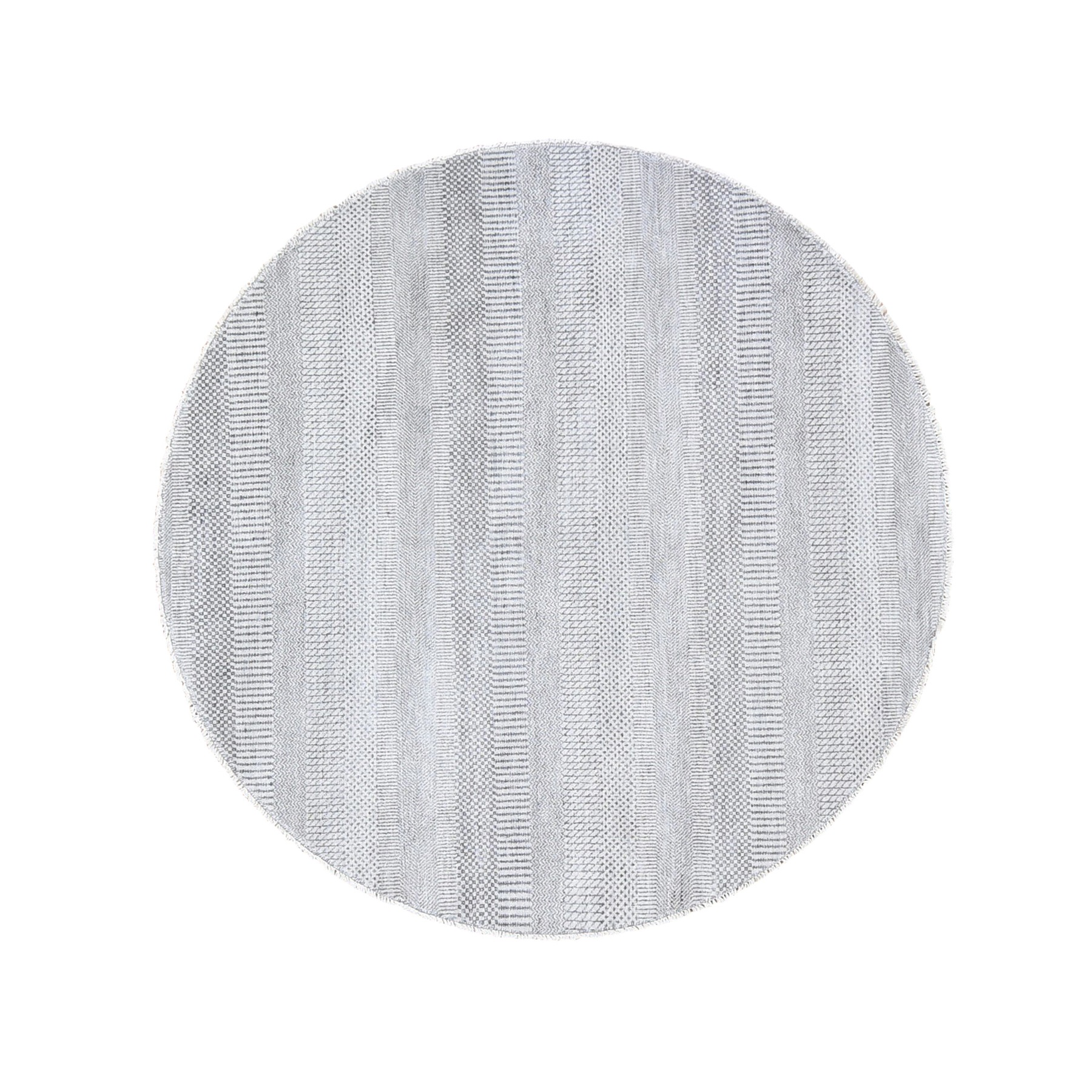 "5'10""x5'10"" Gray Round Grass Design Wool And Silk Hand Knotted Oriental Rug"