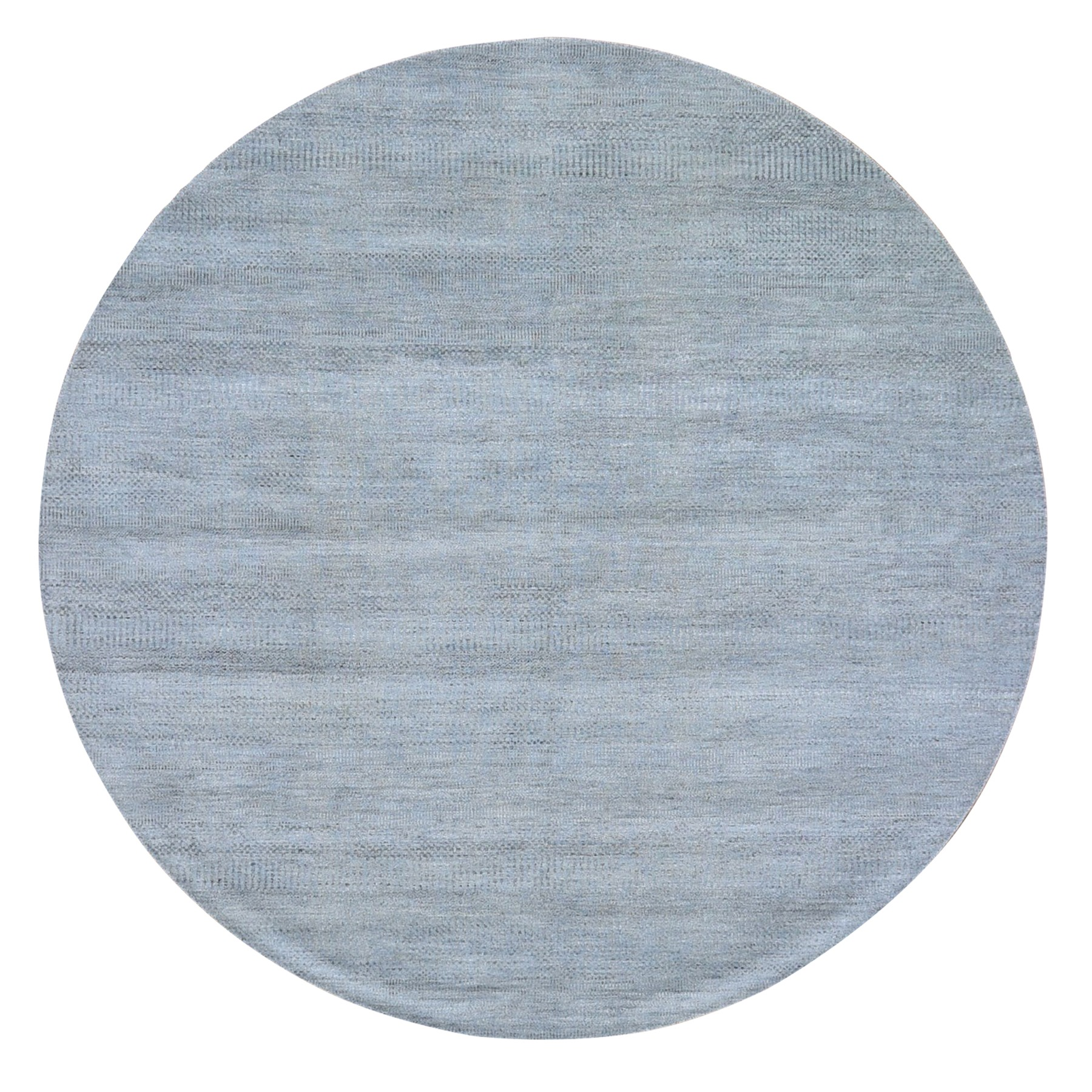 8'x8' Gray Grass Design Wool And Silk Round Hand Knotted Oriental Rug