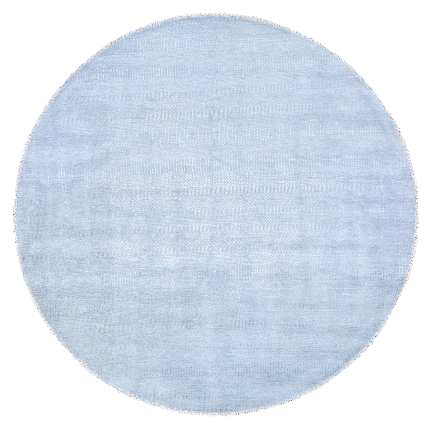 "7'10""x7'10"" Gray Round Grass Design Pure Wool Hand Knotted Oriental Rug"