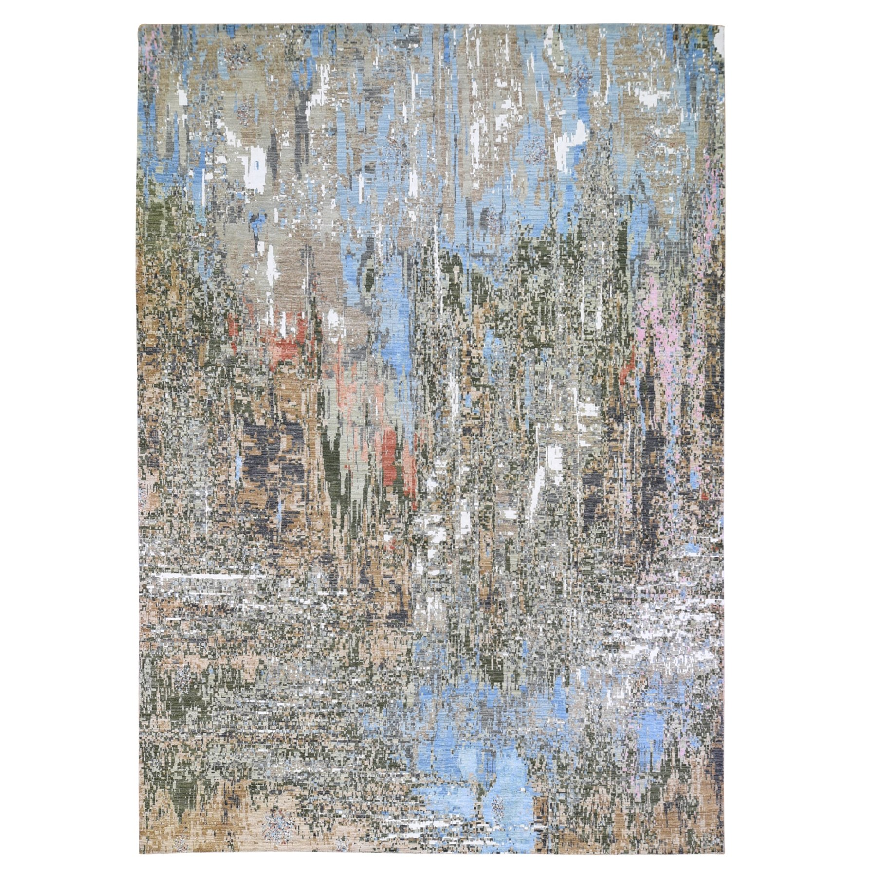 10'X14' Colorful Abstract Wool And Silk Hand Knotted Oriental Rug moae9ca6