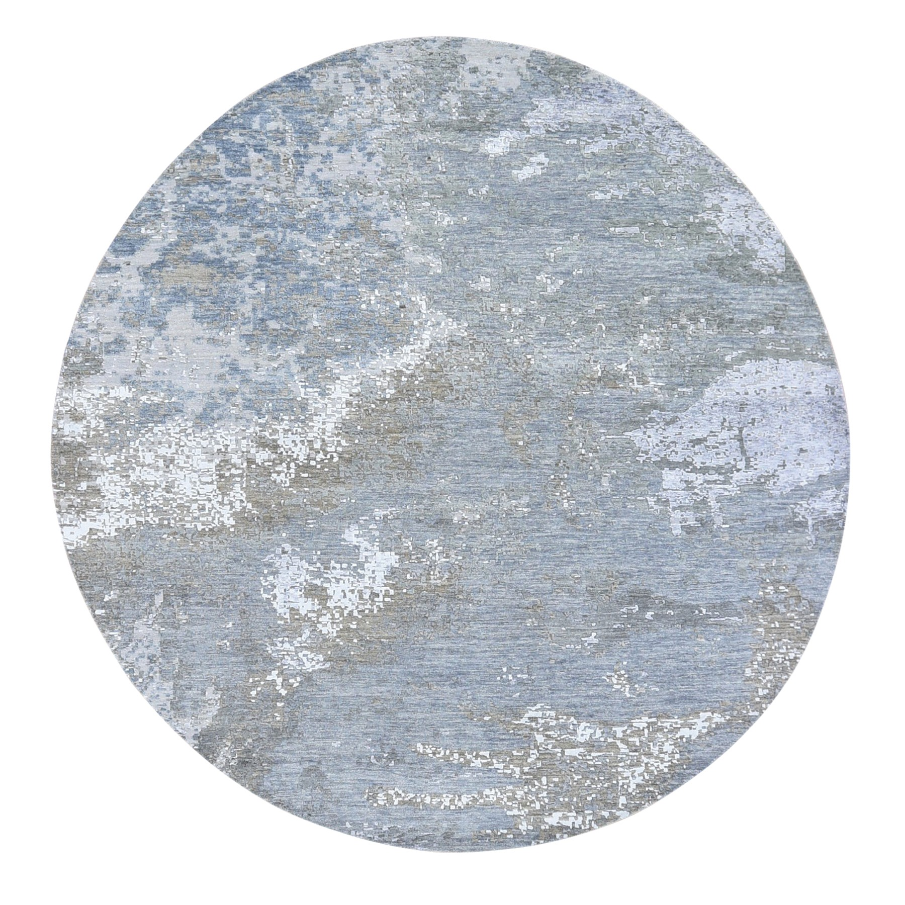 "8'3""x8'3"" Gray Round Abstract Design Wool and Silk Hand Knotted Oriental Rug"