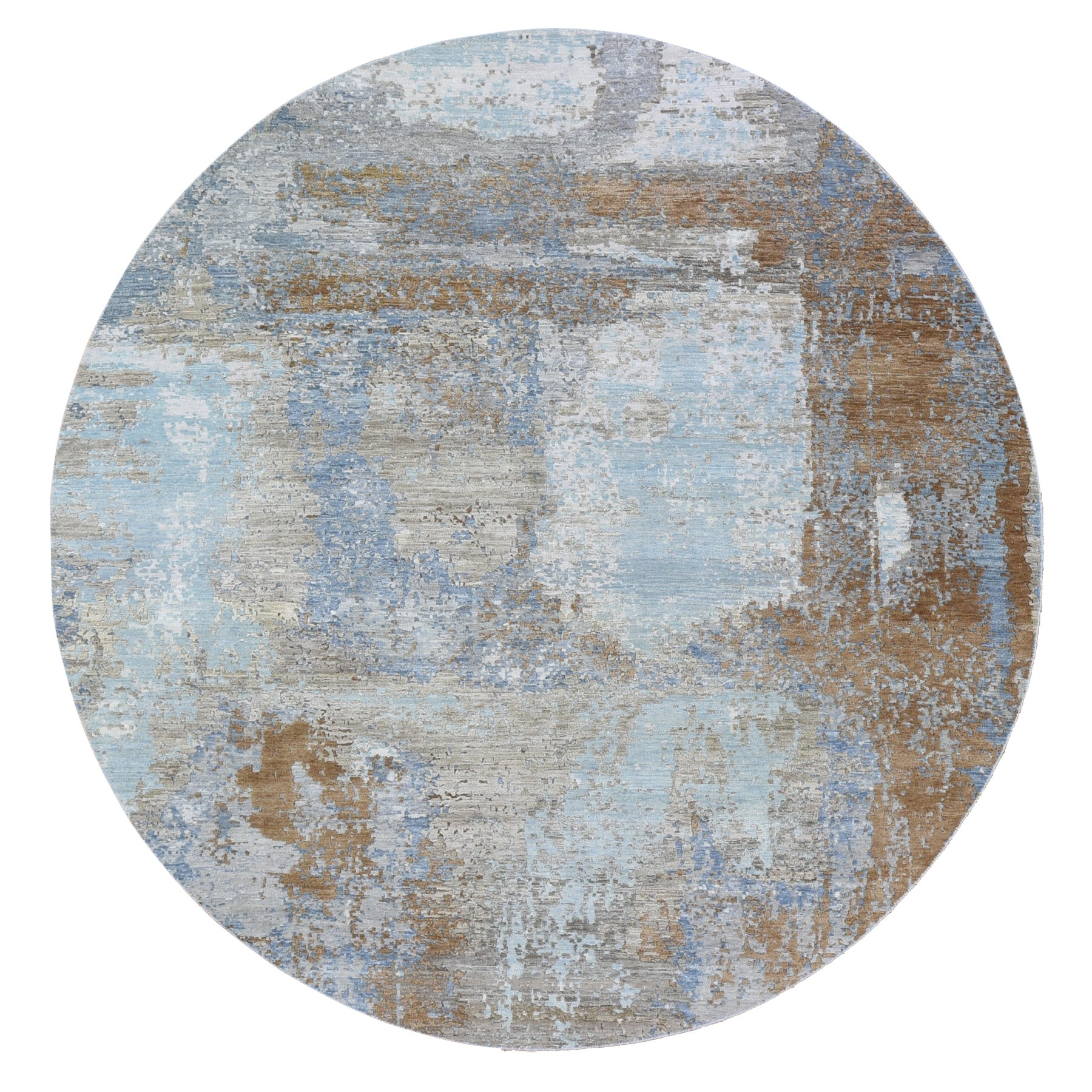 8'x8' Light Blue Abstract Design Wool and Silk Hi-Low Pile Denser Weave Hand Knotted Round Oriental Rug