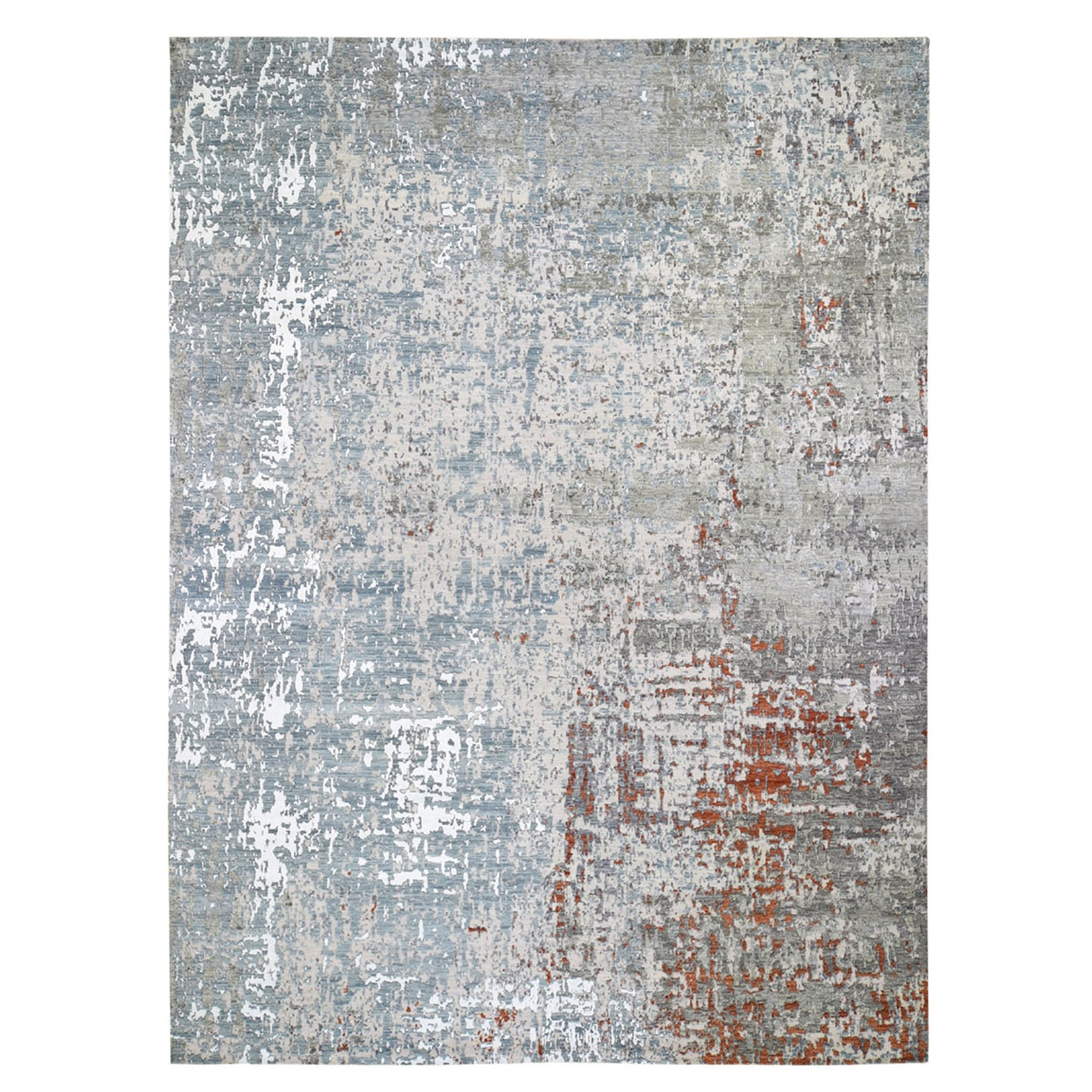 "10'x14'2"" Terracotta Abstract Design Wool and Silk Hi-Low Pile Denser Weave Hand Knotted Oriental Rug"