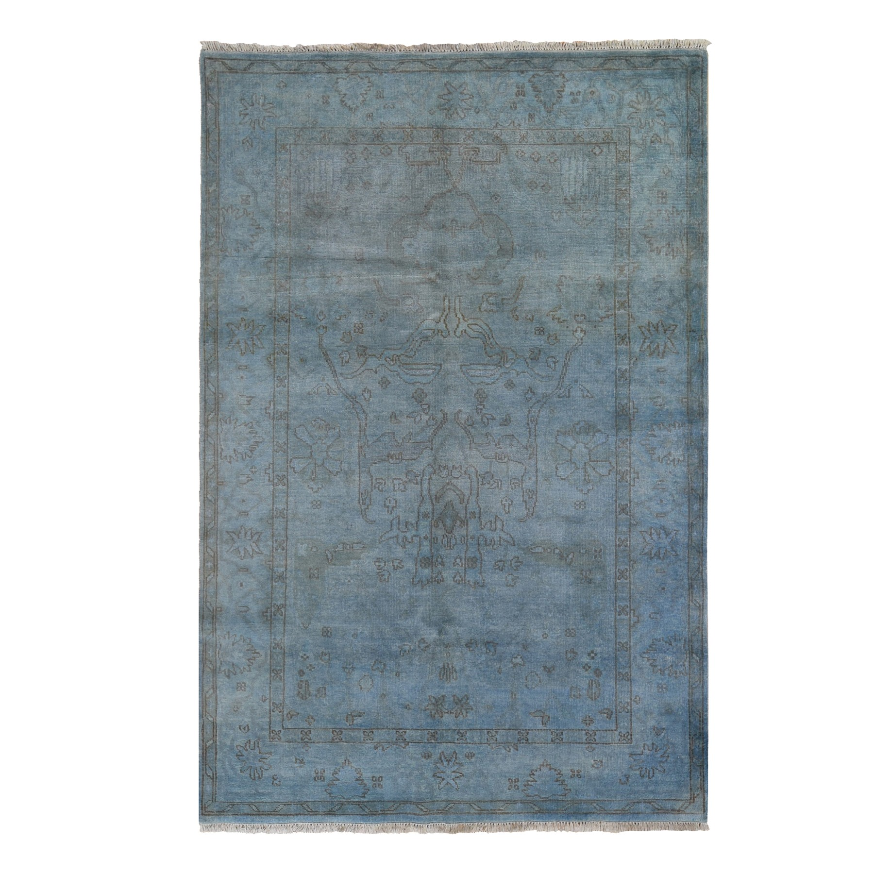 "5'10""x8'9"" Blue Overdyed Oushak Hand Knotted Pure Wool Oriental Rug"