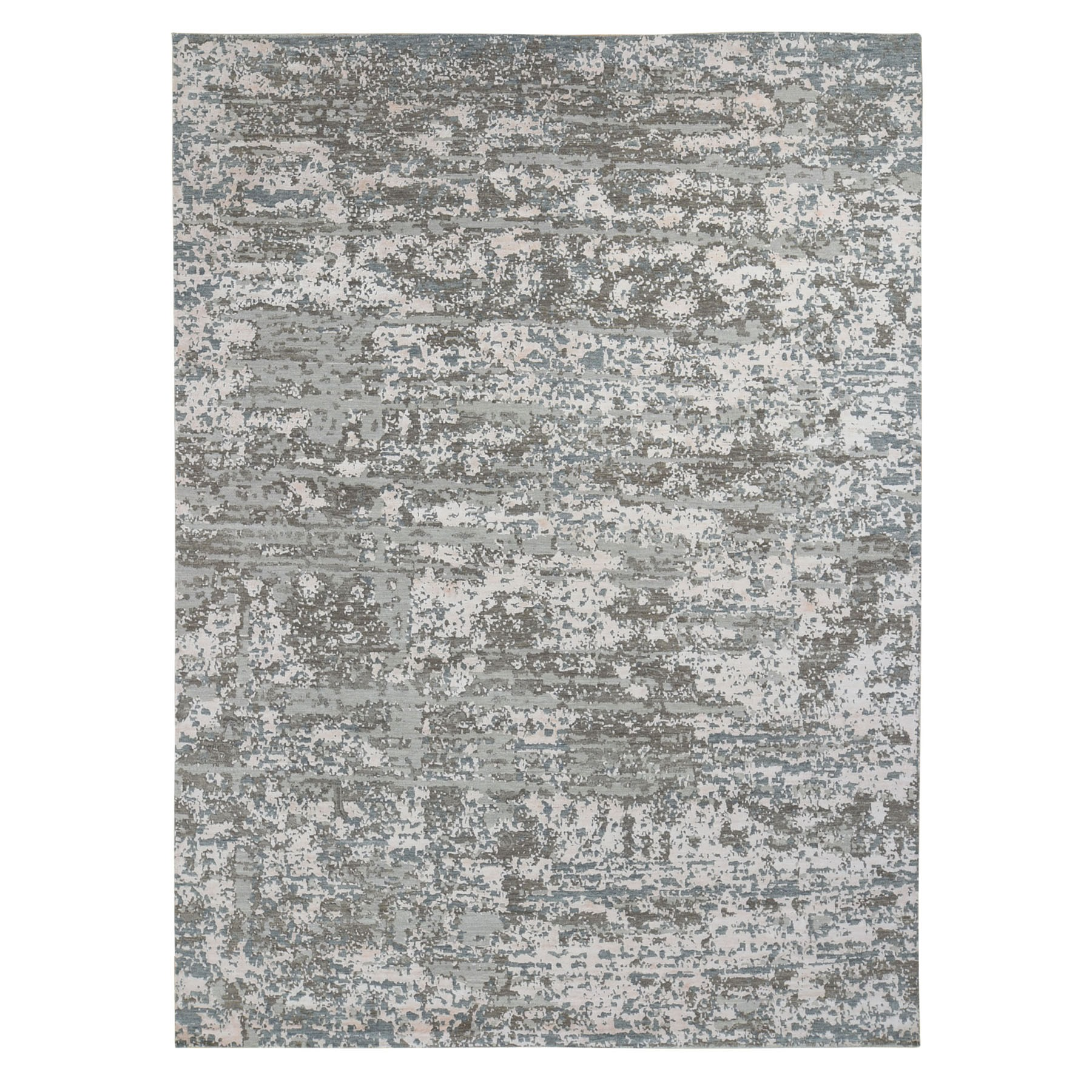 9'X12' Gray Denser Weave Abstract Design Wool And Silk Hi-Low Pile Hand Knotted Oriental Rug moae9cce