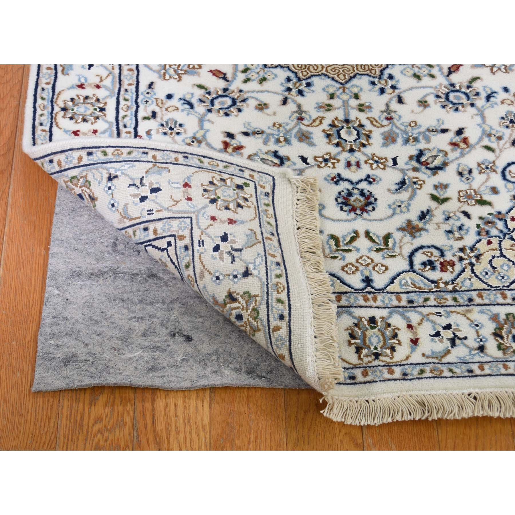 """2'8""""x10'3"""" Ivory Wool and Silk 250 KPSI Nain Hand Knotted Runner Oriental Rug"""