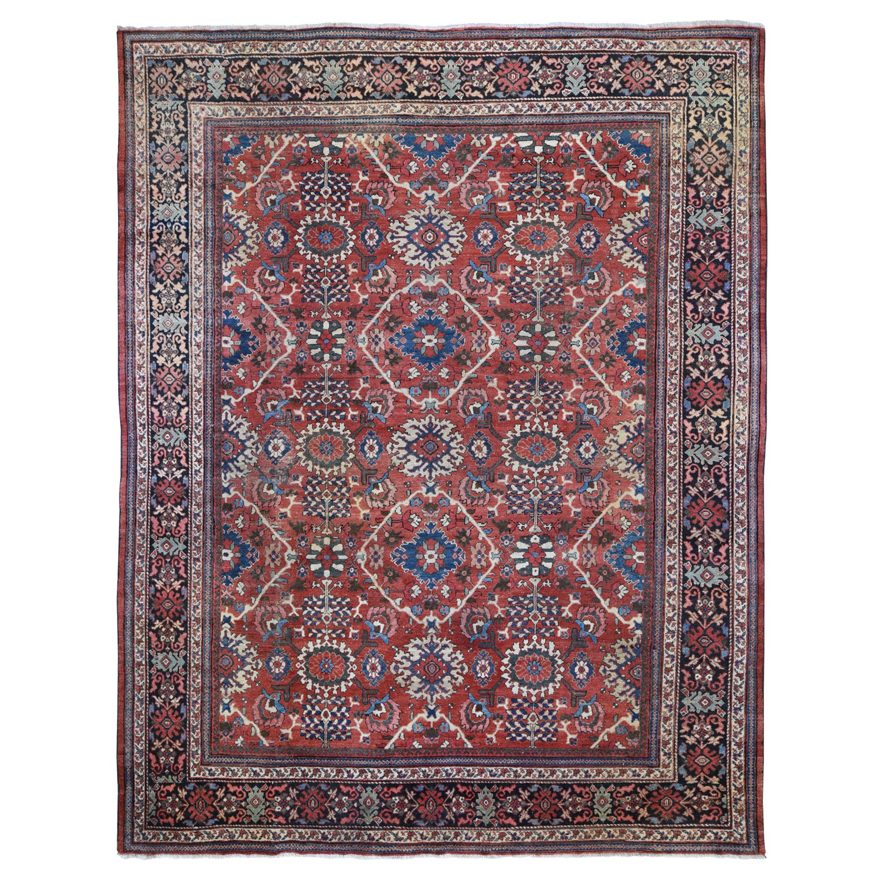 """10'10""""X13'8"""" Terracotta Antique Persian Mahal Good Condition With Some Wear Clean Hand Knotted Oriental Rug moae9ce0"""