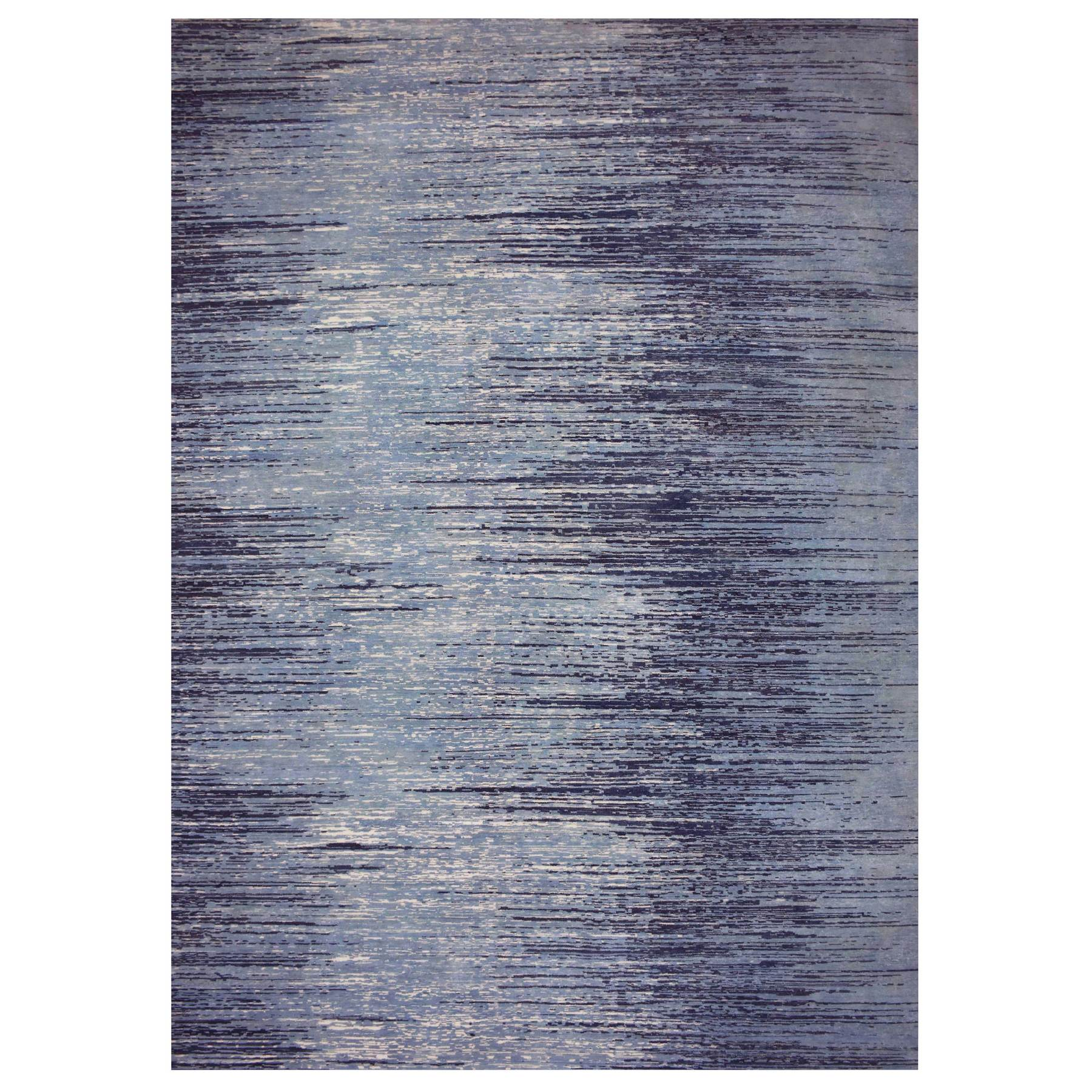 "10'1""x14'1"" Blue Oceanic Zero Pile Pure Wool Ombre Design Hand Knotted Oriental Rug"