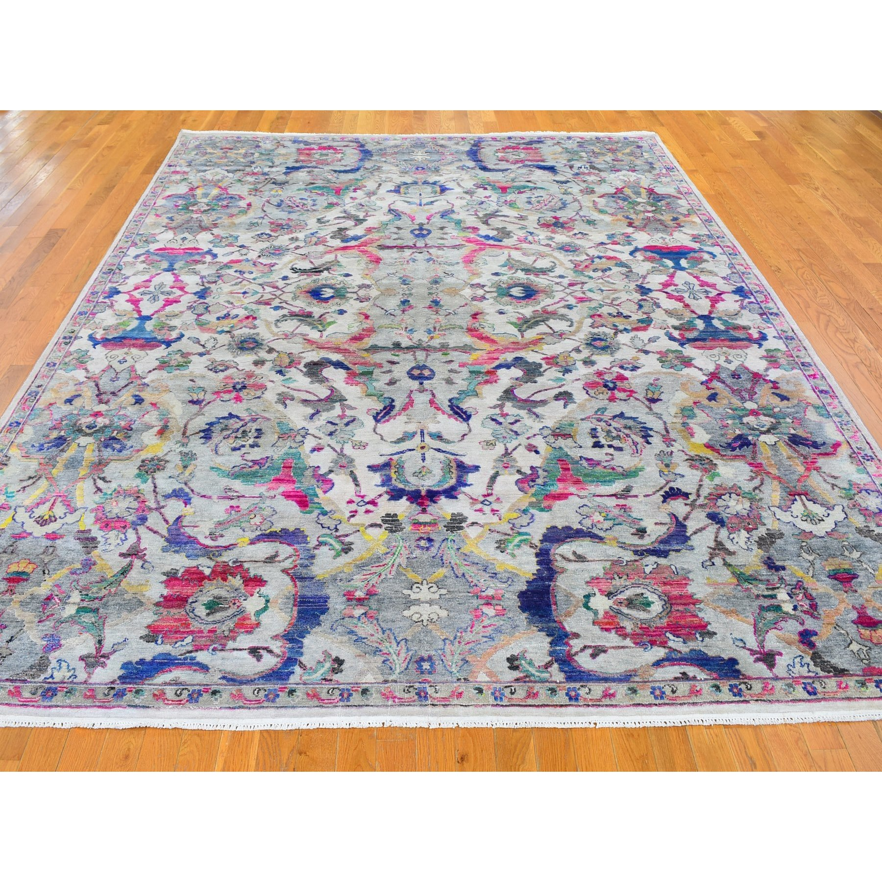 "9'x12'1"" Ivory All Over Design Pop of Color Sari Silk and Textured Wool Hand Knotted Oriental Rug"