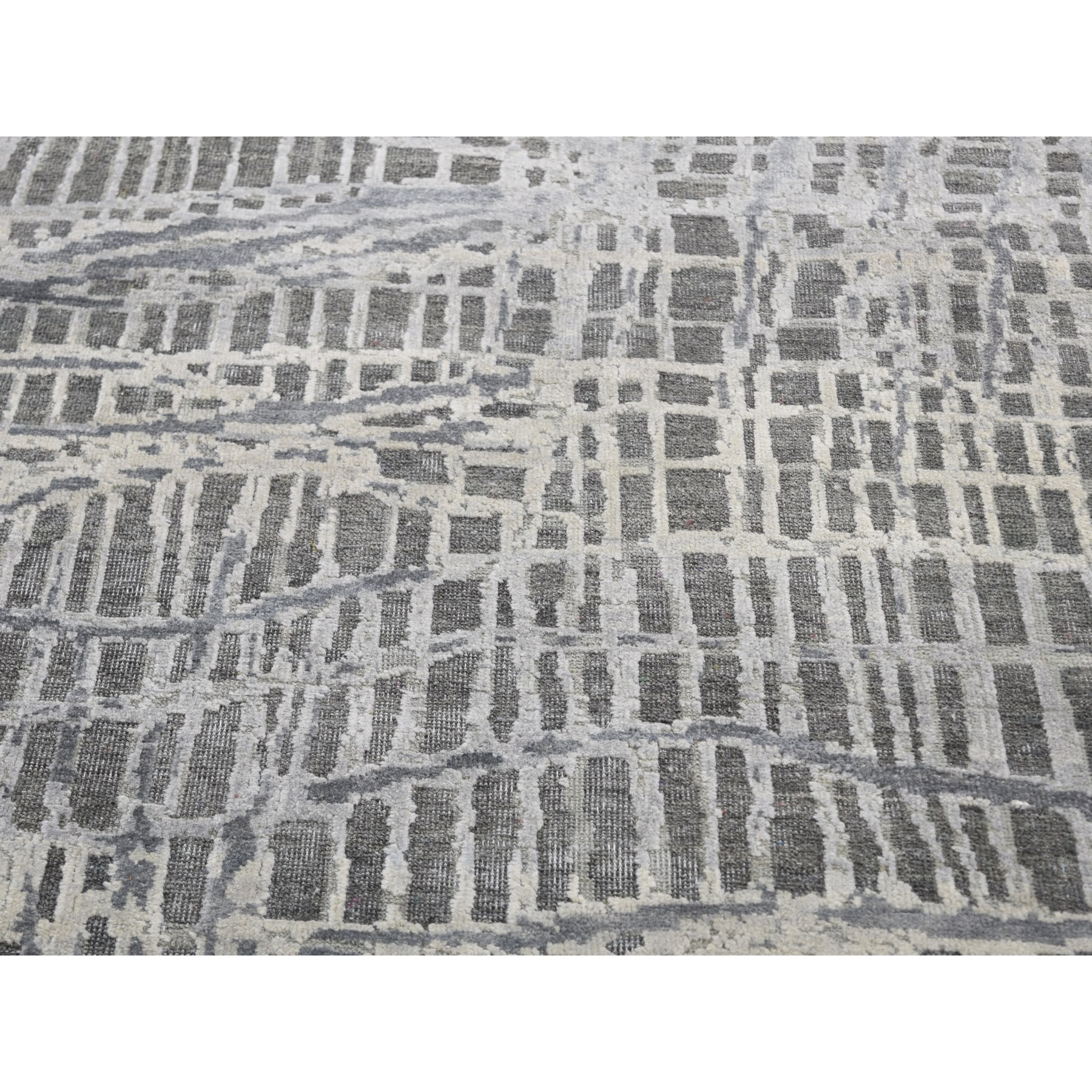 """9'x12'1"""" THE LOST BRANCHES, Silk with Textured Wool Hand Knotted Oriental Rug"""