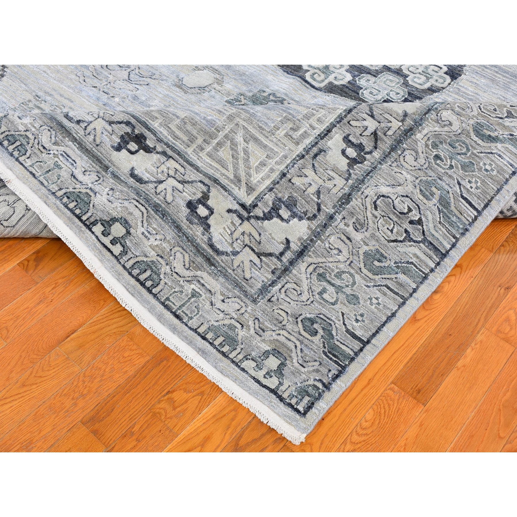 "8'10""x12'1"" Pure Silk with Textured Wool Khotan Design Hand Knotted Oriental Rug"