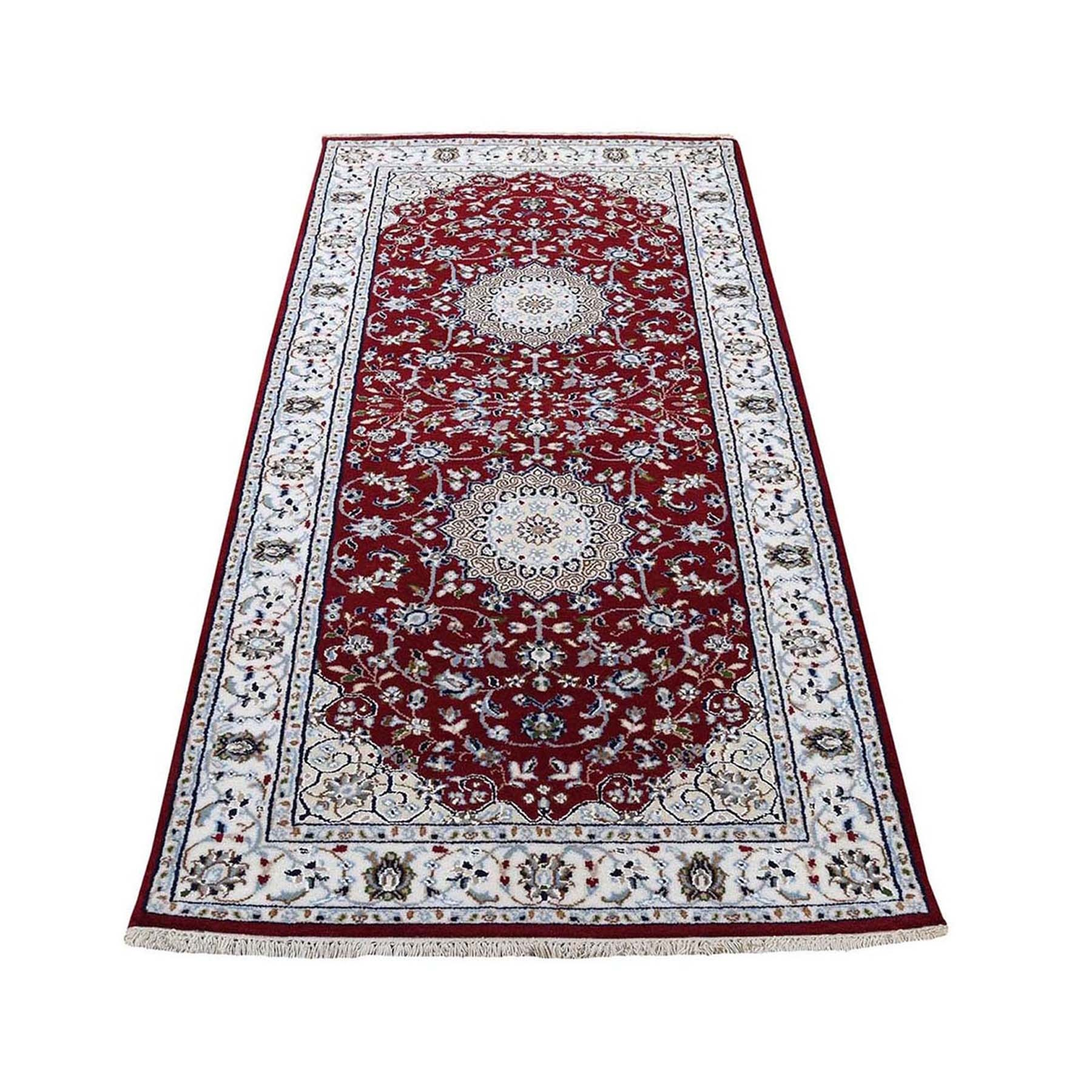"2'7""x6'2"" Red Nain Wool and Silk 250 KPSI Hand Knotted Oriental Runner Rug"