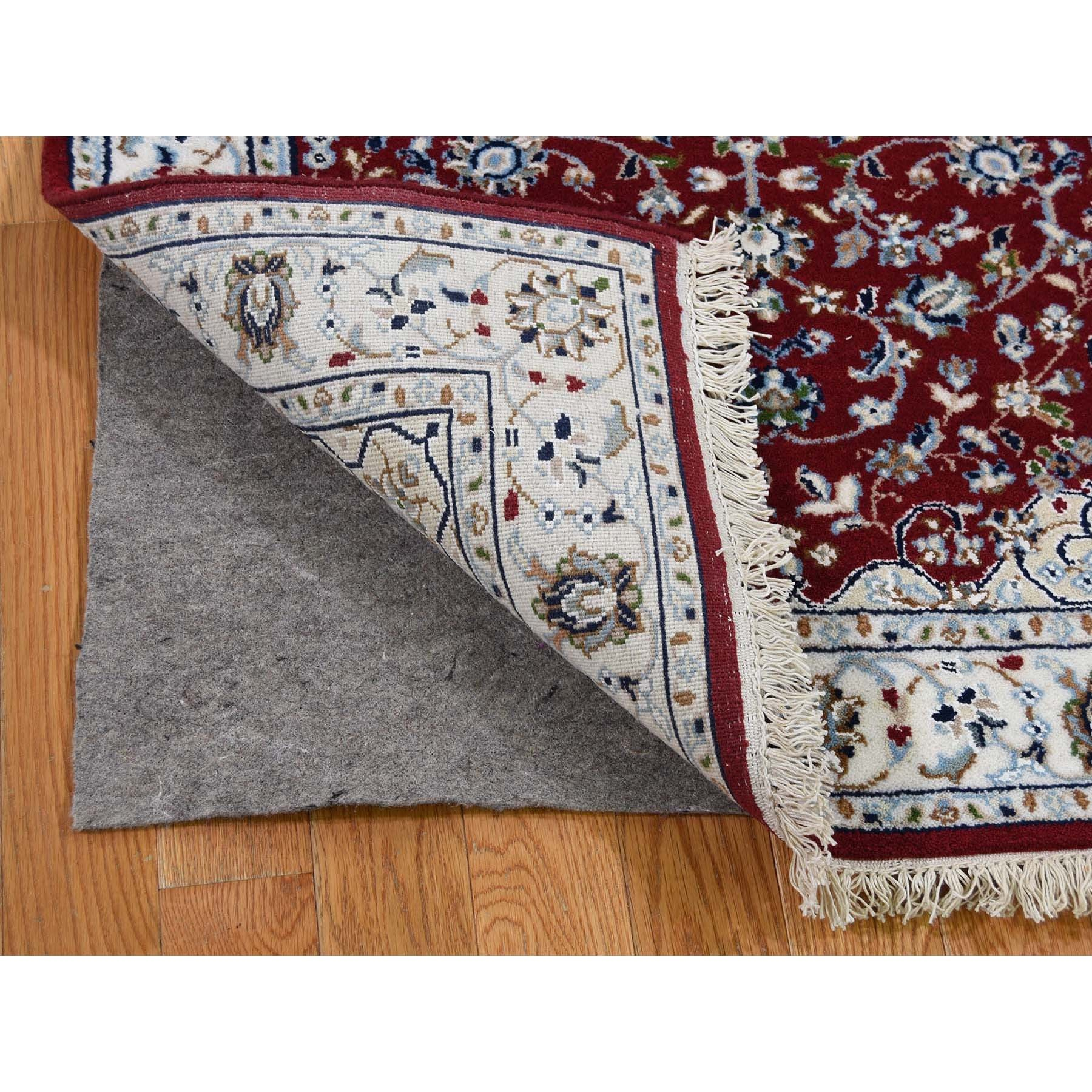 """2'5""""x6'1"""" Wool And Silk 250 KPSI Red Nain Hand-Knotted Oriental Runner Rug"""