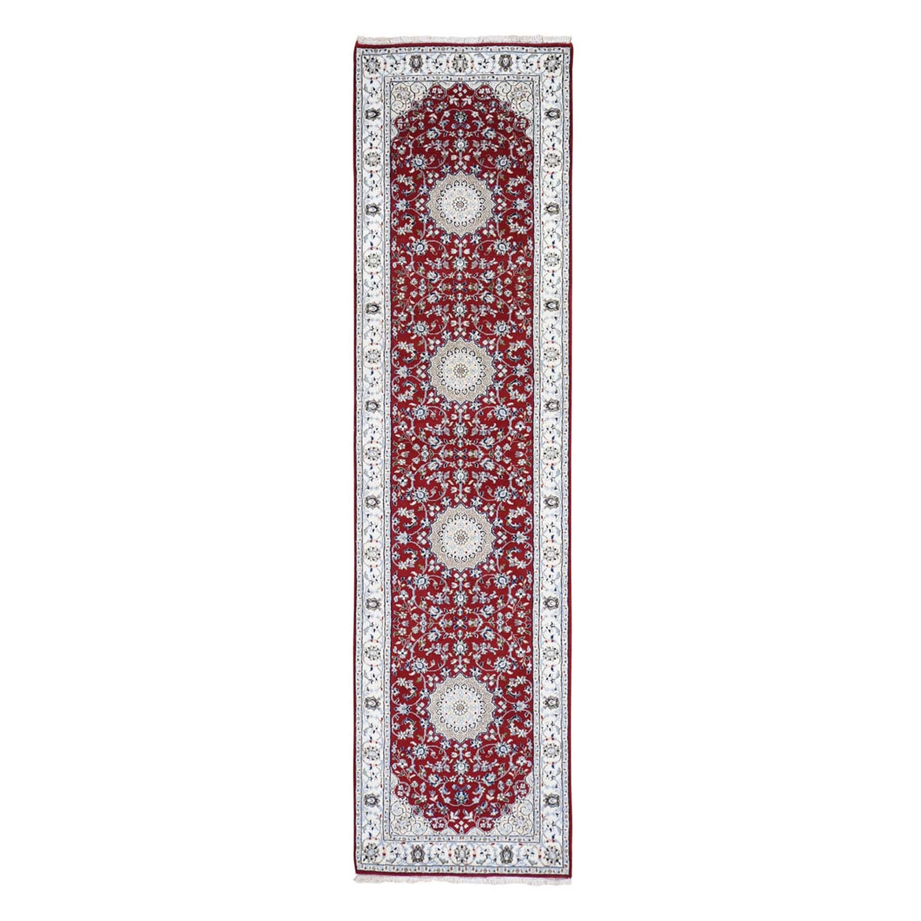 "2'9""x10' Wool And Silk 250 KPSI Red Nain Hand-Knotted Oriental Runner Rug"