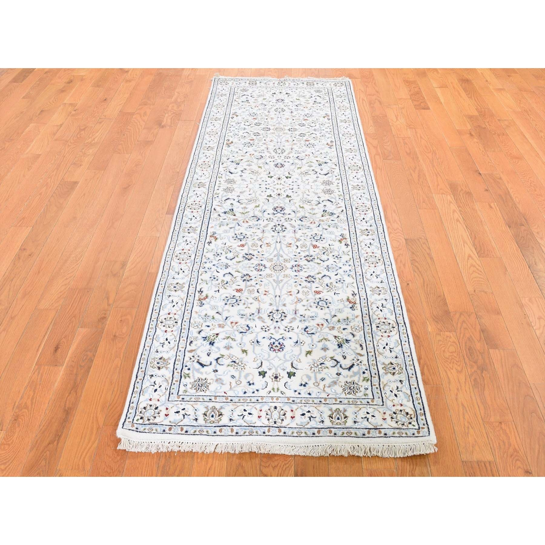 "2'8""x8'3"" Wool And Silk 250 Kpsi Ivory All Over Design Nain Runner Hand-Knotted Oriental Rug"
