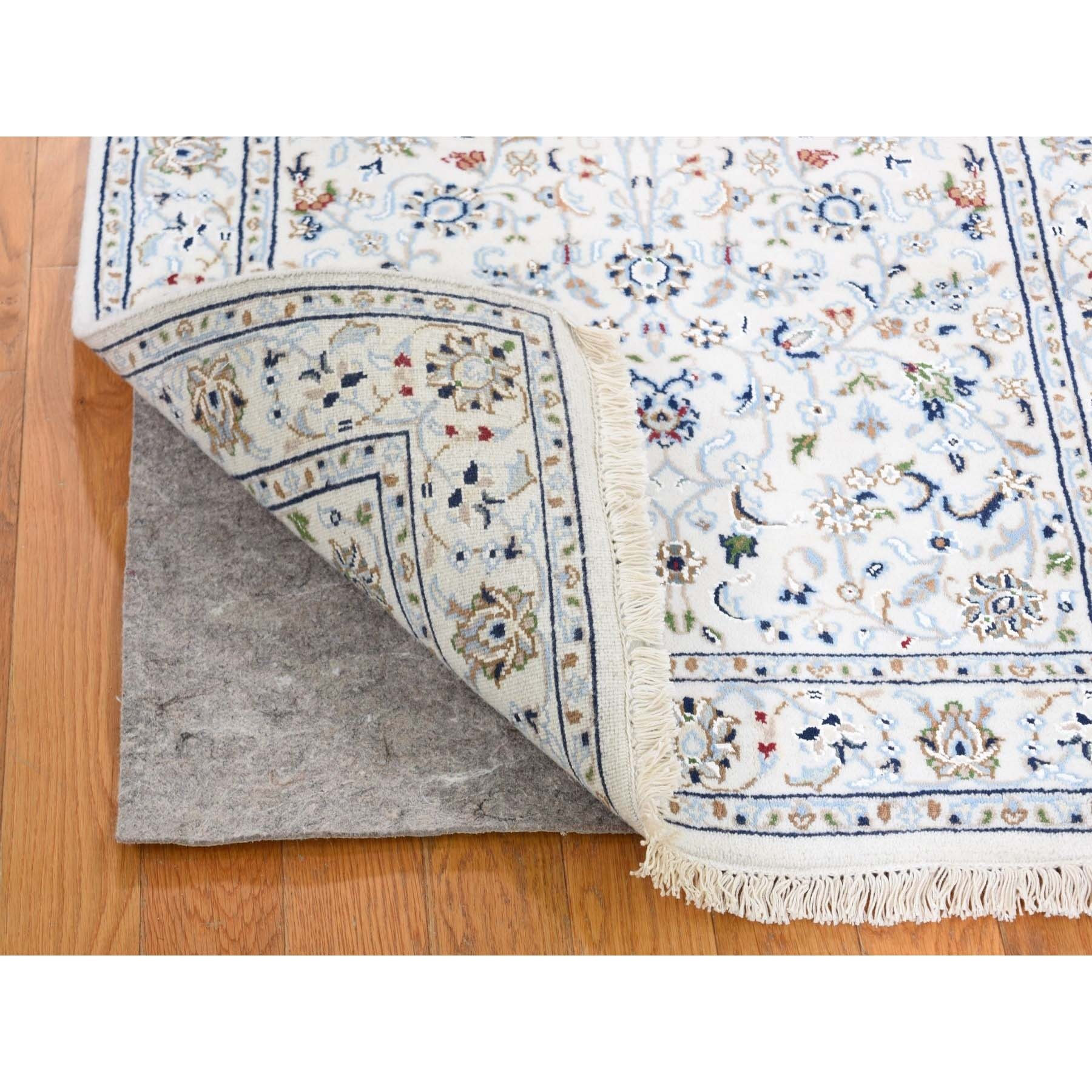 """2'7""""x7'10"""" Ivory Wool And Silk 250 Kpsi All Over Design Nain Runner Hand-Knotted Oriental Rug"""