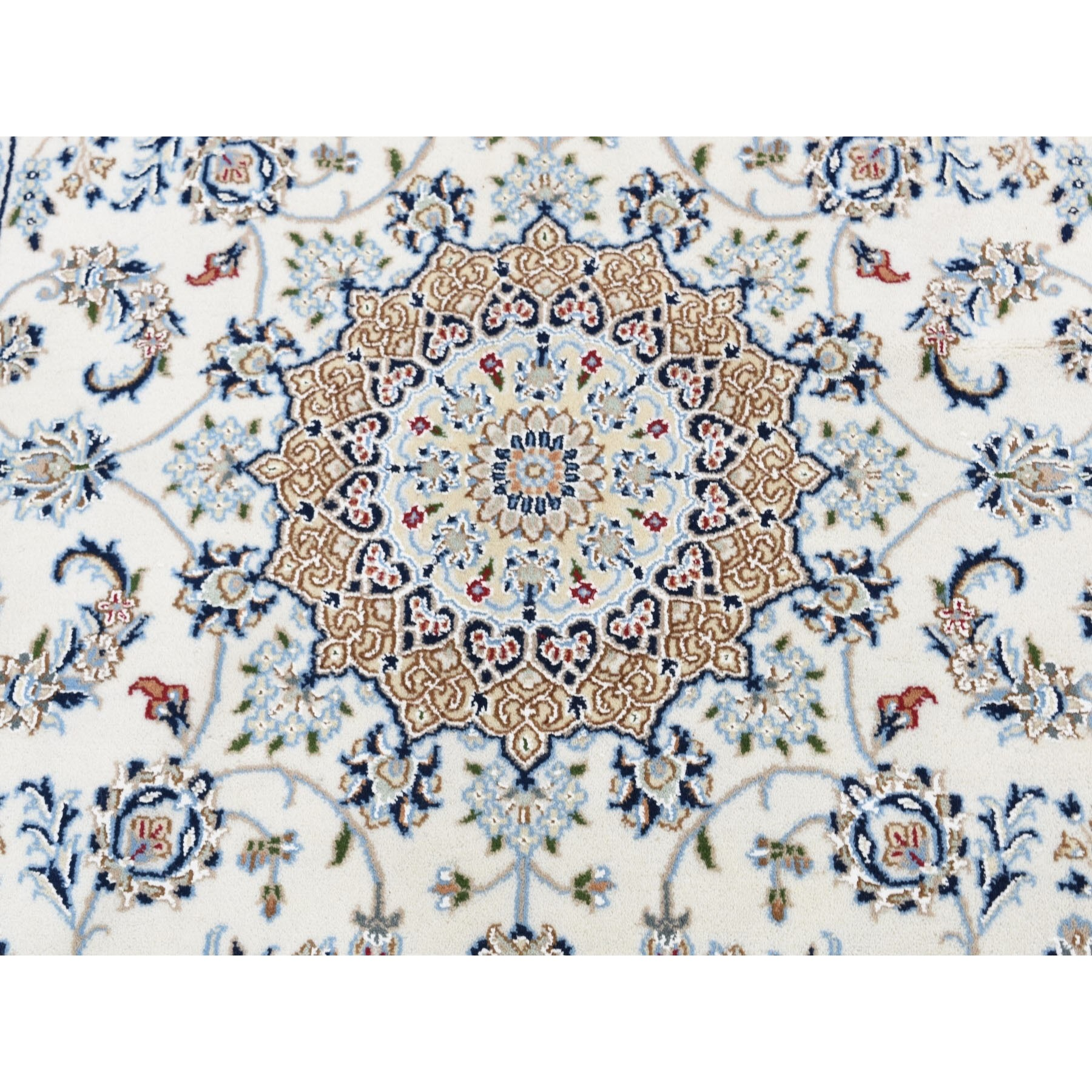 """2'8""""x8'3"""" Ivory Wool and Silk 250 KPSI Nain Hand Knotted Runner Oriental Rug"""