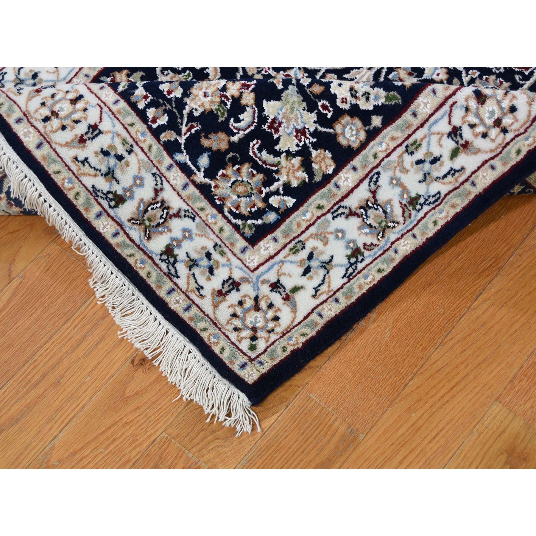 """2'10""""x19'7"""" Navy Blue Wool And Silk 250 Kpsi All Over Design Nain XL Runner Hand-Knotted Oriental Rug"""