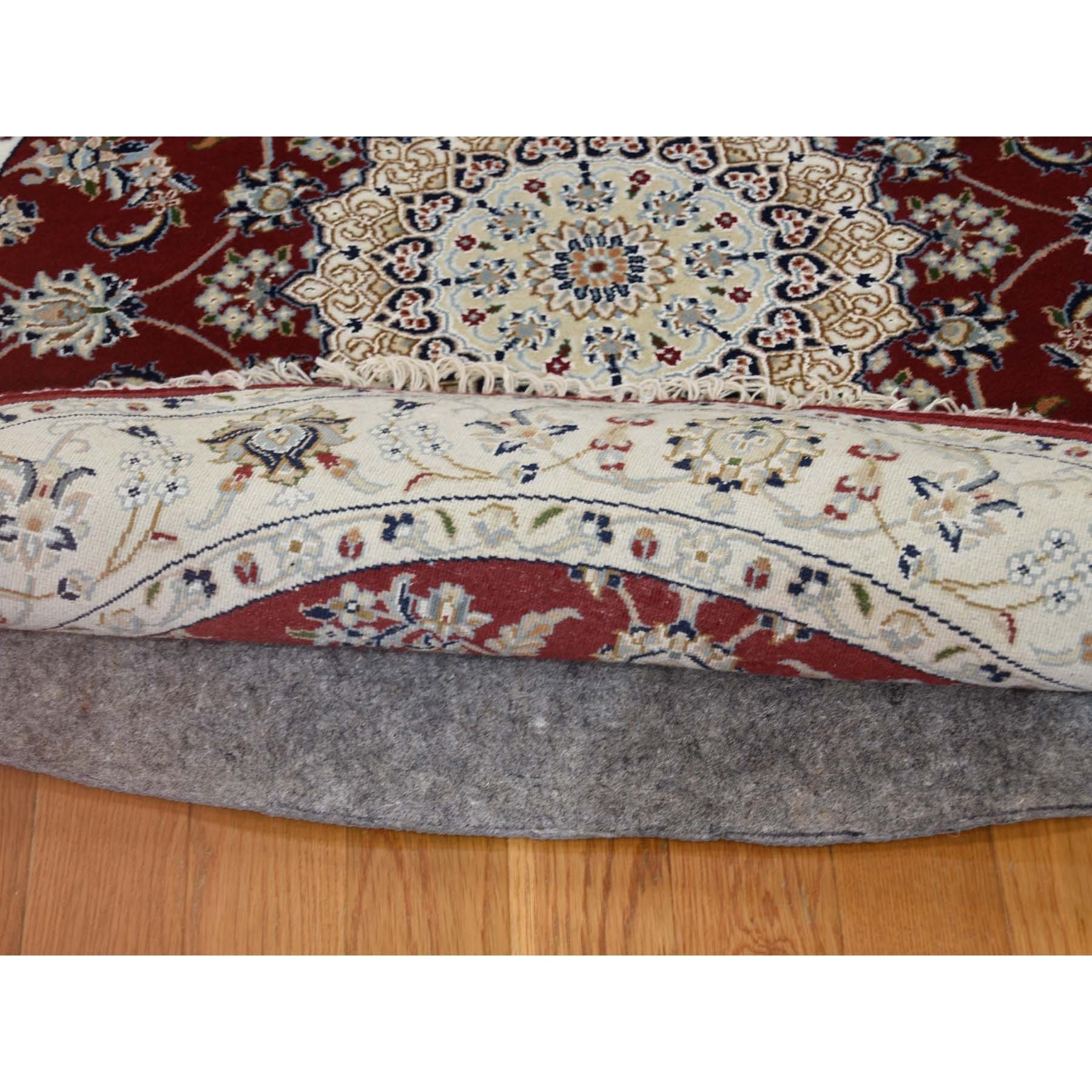 3'x3' Wool And Silk 250 KPSI Red Nain Hand-Knotted Oriental Round Rug