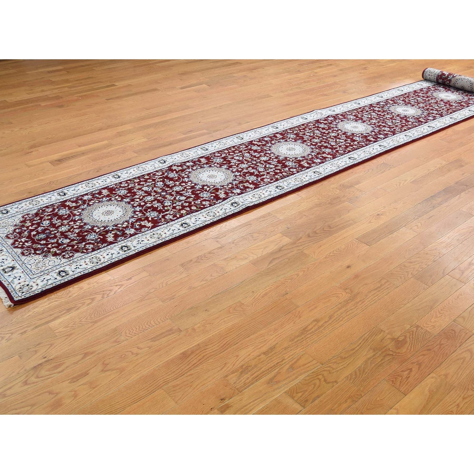 """2'8""""x24'8"""" Wool And Silk 250 KPSI Red Nain XL Runner Hand-Knotted Oriental Rug"""