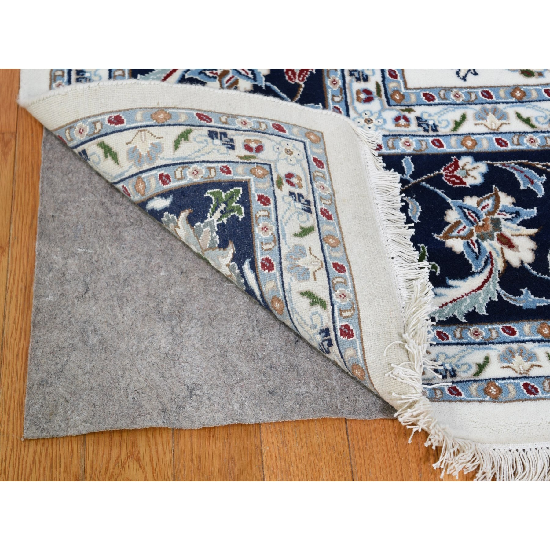 """9'x11'10"""" Wool And Silk 250 Kpsi Ivory All Over Design Nain Hand-Knotted Oriental Rug"""