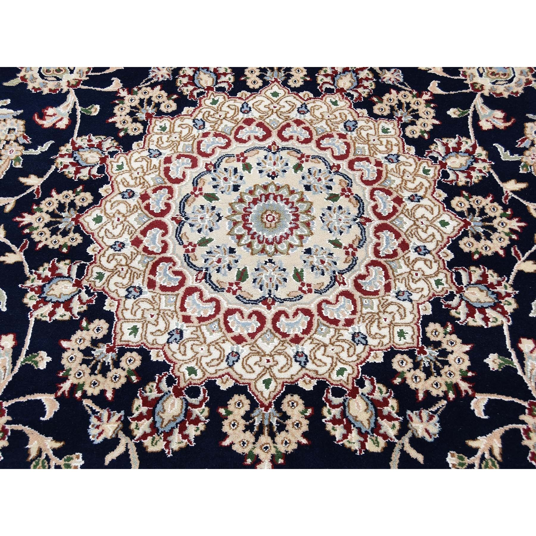 "7'8""x10' Navy Blue Nain Wool and Silk 250 KPSI Hand Knotted Oriental Rug"