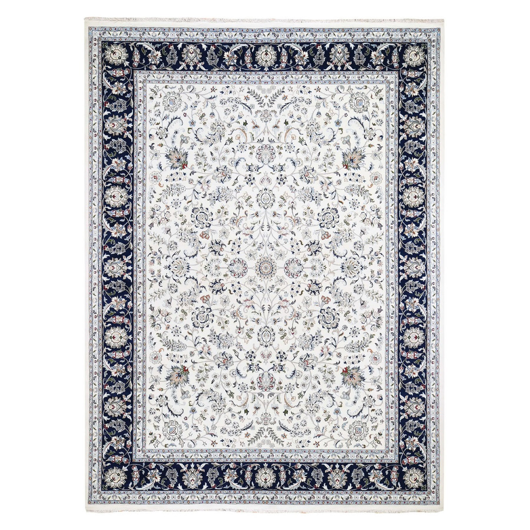 "8'10""X12' Ivory Wool And Silk 250 Kpsi All Over Design Nain Hand-Knotted Oriental Rug moae9dbd"
