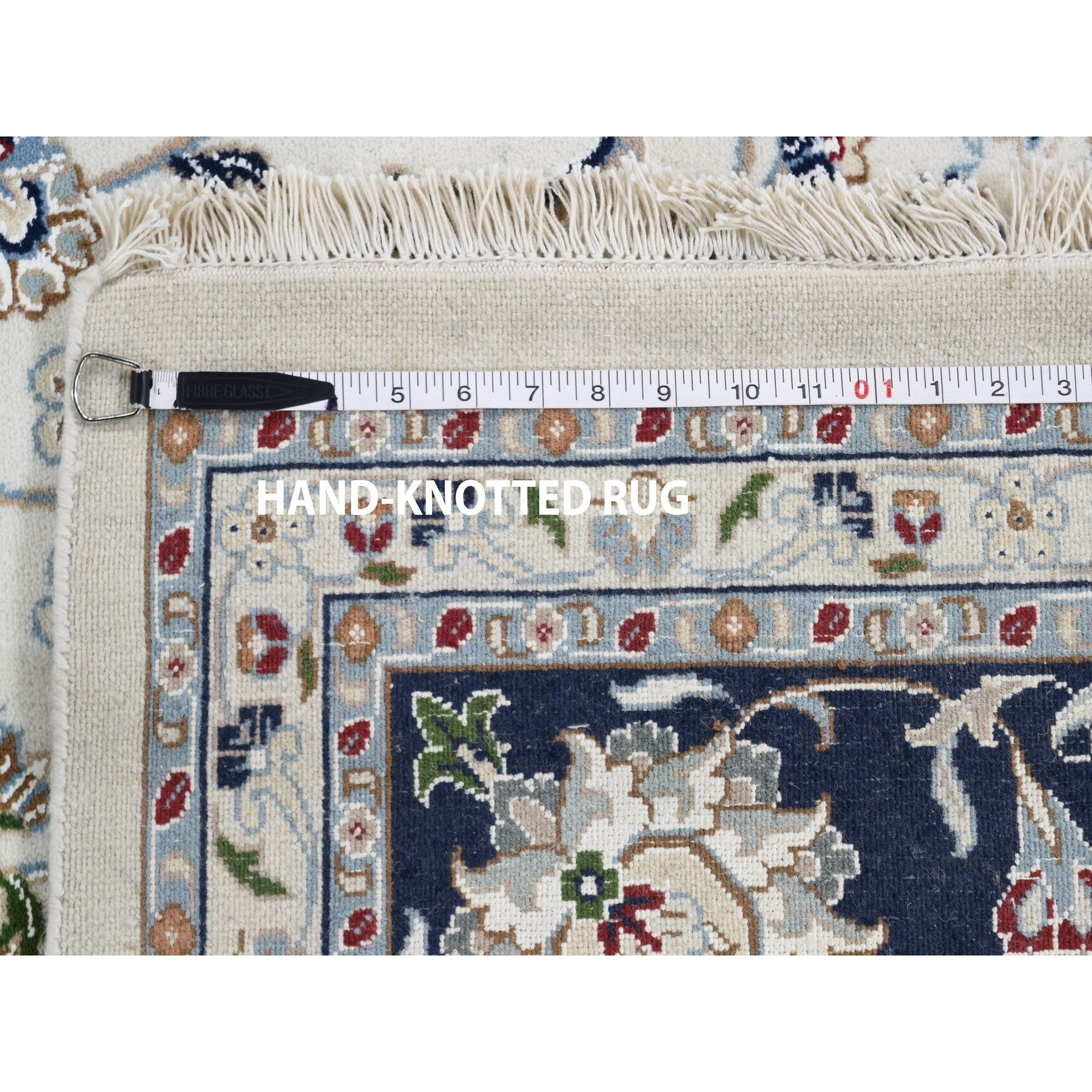 """8'10""""x12' Ivory Wool And Silk 250 Kpsi All Over Design Nain Hand-Knotted Oriental Rug"""