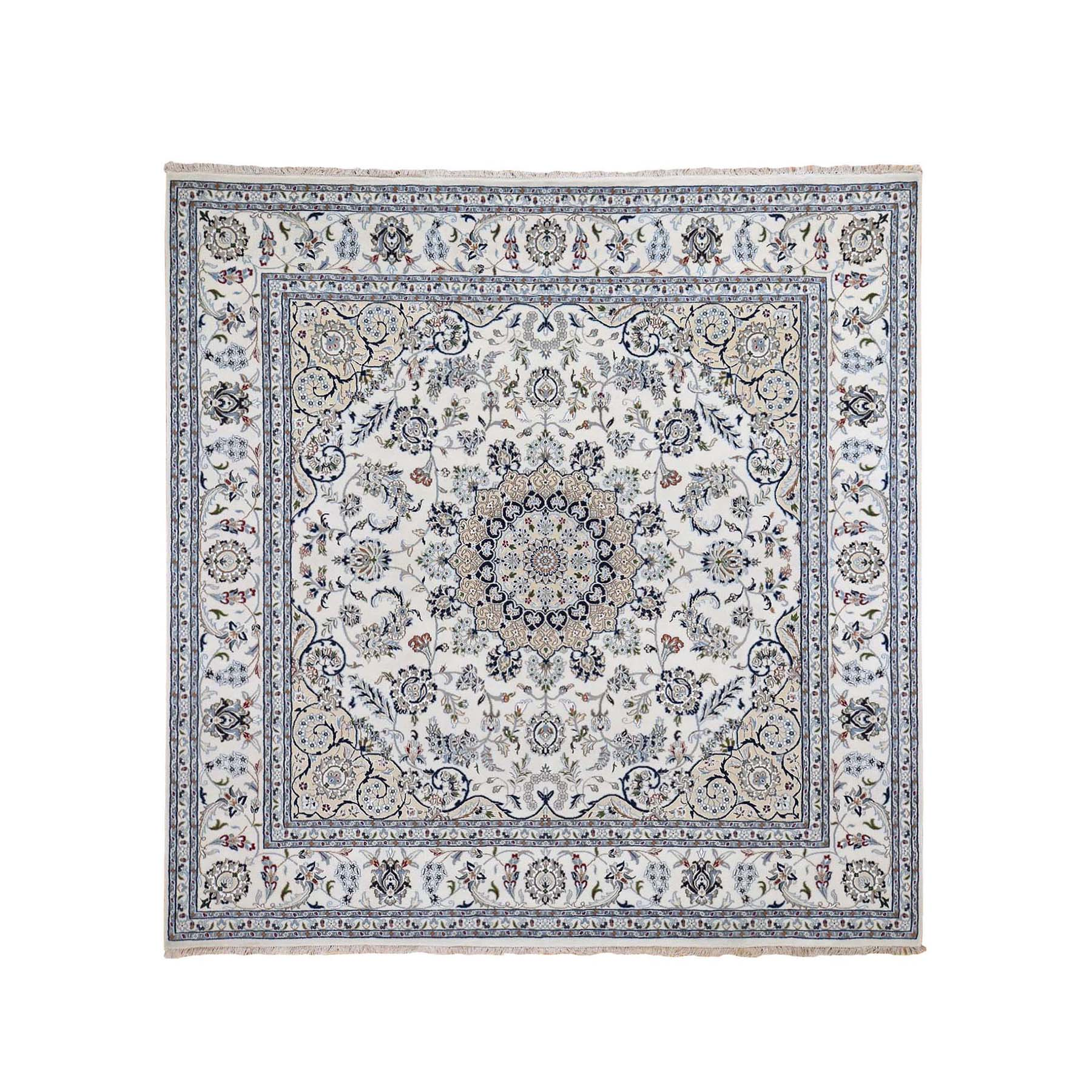 "8'1""X8'1"" Wool And Silk 250 Kpsi Ivory Nain Hand-Knotted Oriental Square Rug moae9db9"