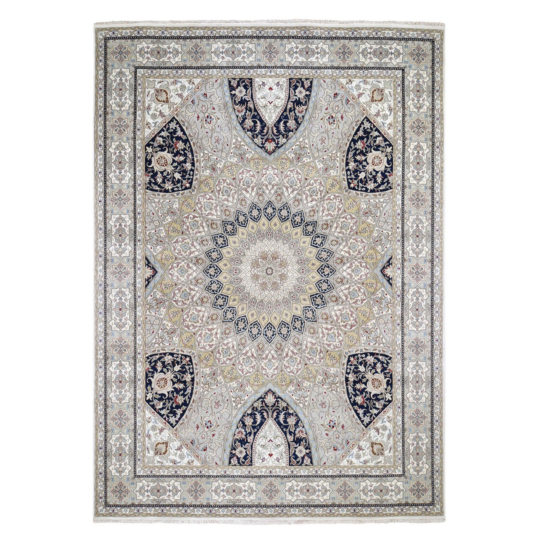 "9'X12'2"" Gray Nain With Gumbad Design Wool And Silk Hand Knotted Oriental Rug moae9dcc"