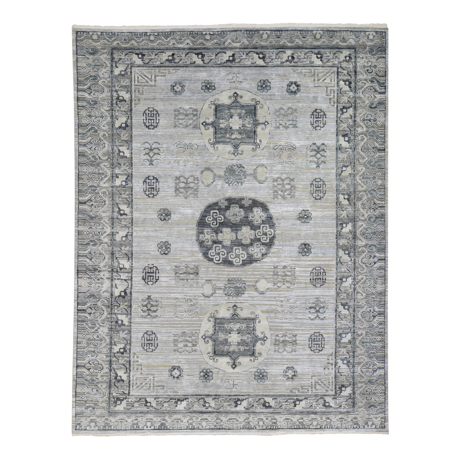 "9'3""X12'2"" Pure Silk With Textured Wool Khotan Design Hand Knotted Oriental Rug moae9dc6"