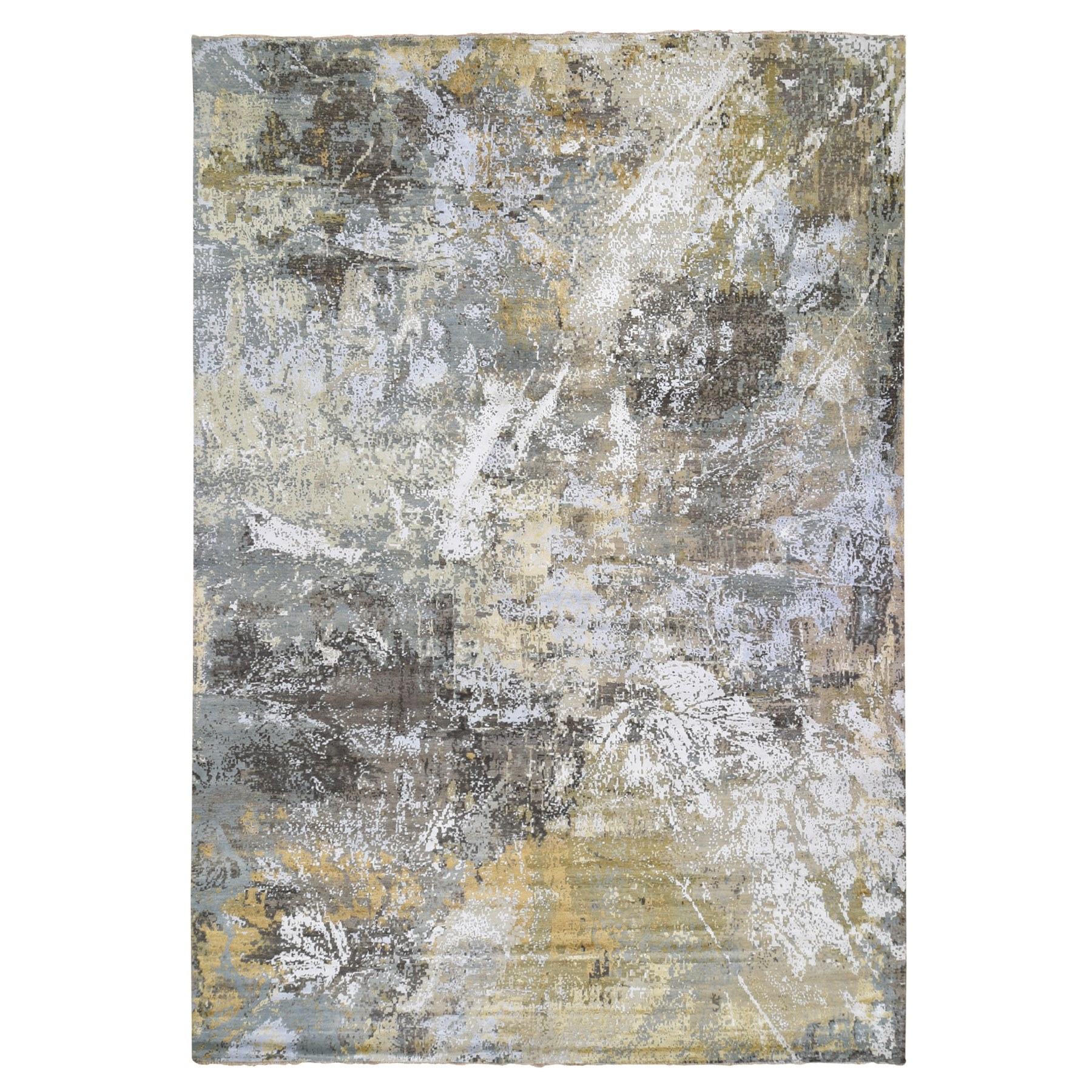 "12'X18'2"" Oversized Gray With Gold Abstract Design Denser Weave Wool And Silk Hand Knotted Oriental Rug moae9dc8"
