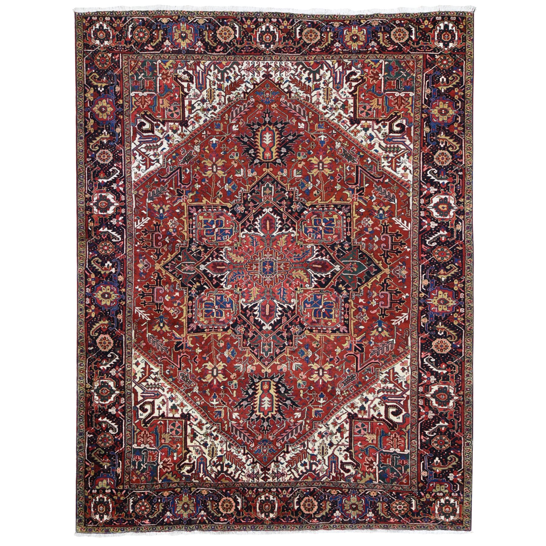 "11'4""X14'7"" Colorful Oversized Persian Heriz, Clean, Thick And Plush Pure Wool Hand Knotted Oriental Rug moae9dc9"