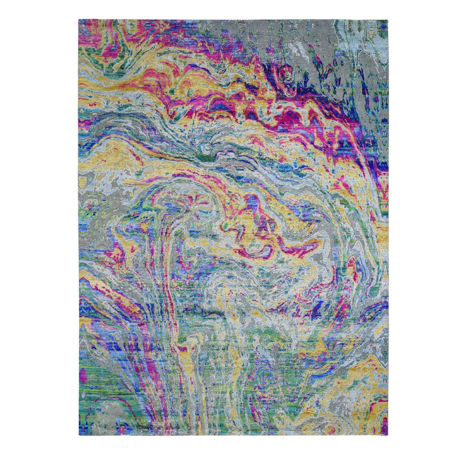 "8'9""x11'8"" THE LAVA, Colorful Sari Silk with Textured Wool Hand Knotted Oriental Rug"