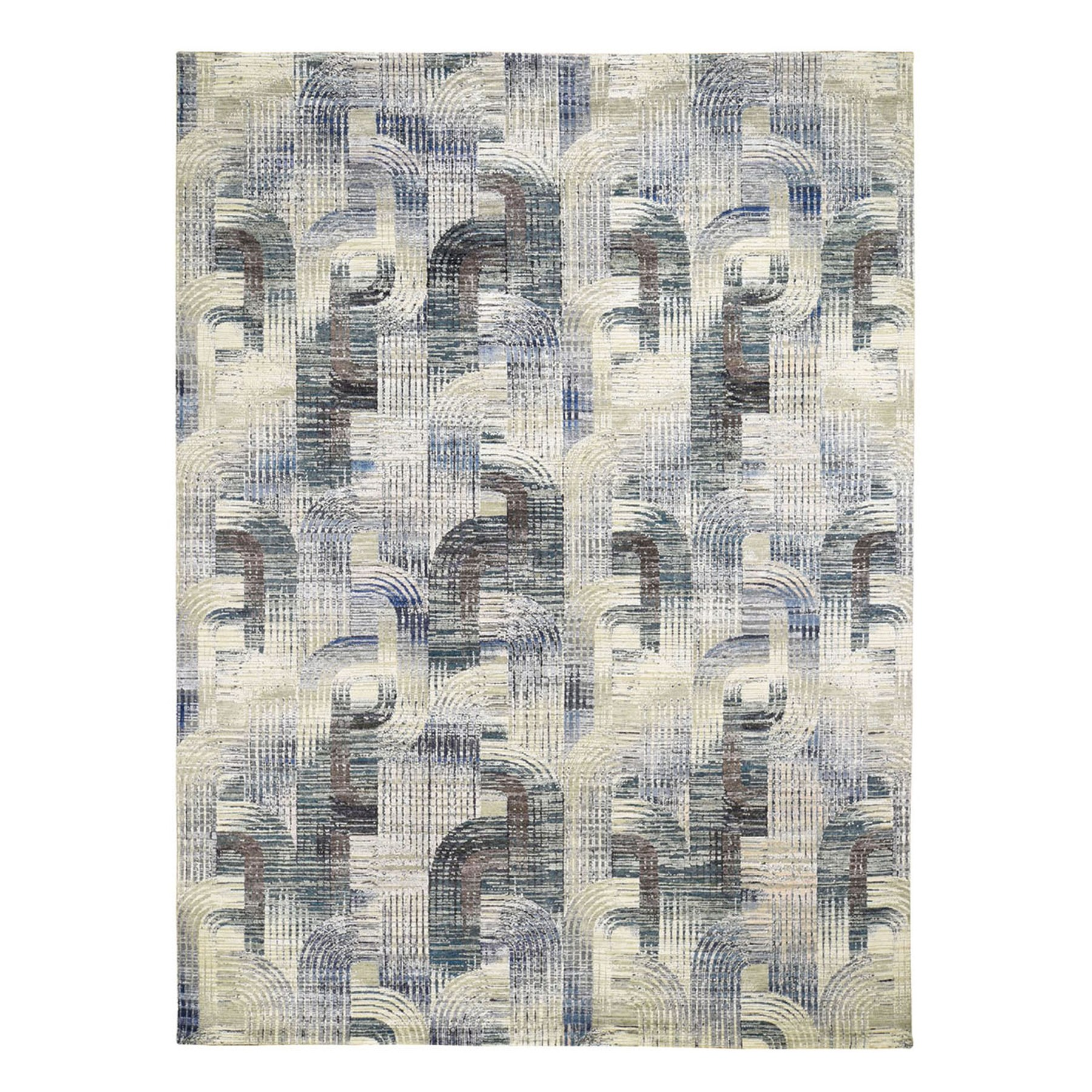 """9'x12'3"""" THE INTERTWINED PASSAGE, Silk with Textured Wool Hand Knotted Oriental Rug"""