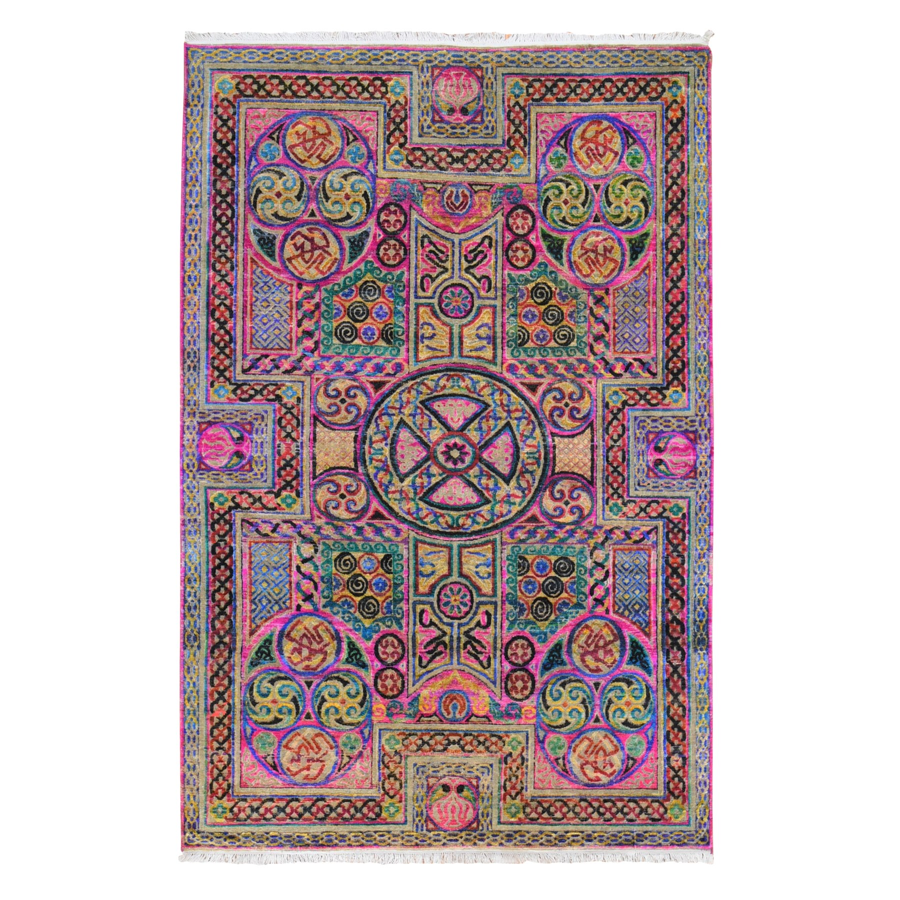 "6'x9'2"" Pink Sari Silk Arts and Crafts Design Hand Knotted Colorful Oriental Rug"