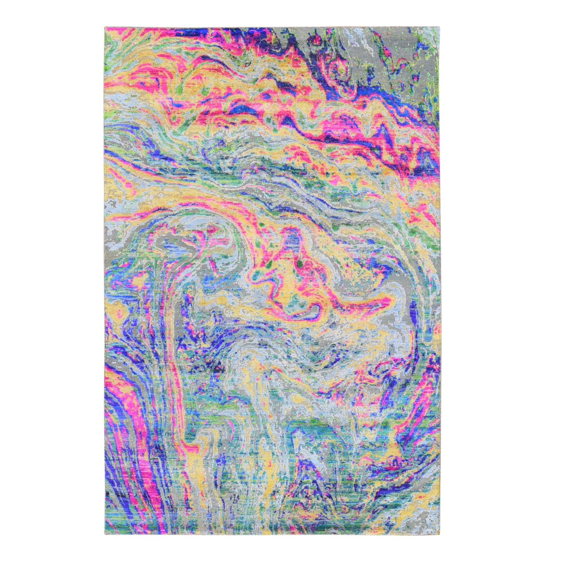 """5'10""""x9' THE LAVA, Colorful Sari Silk with Textured Wool Hand Knotted Oriental Rug"""
