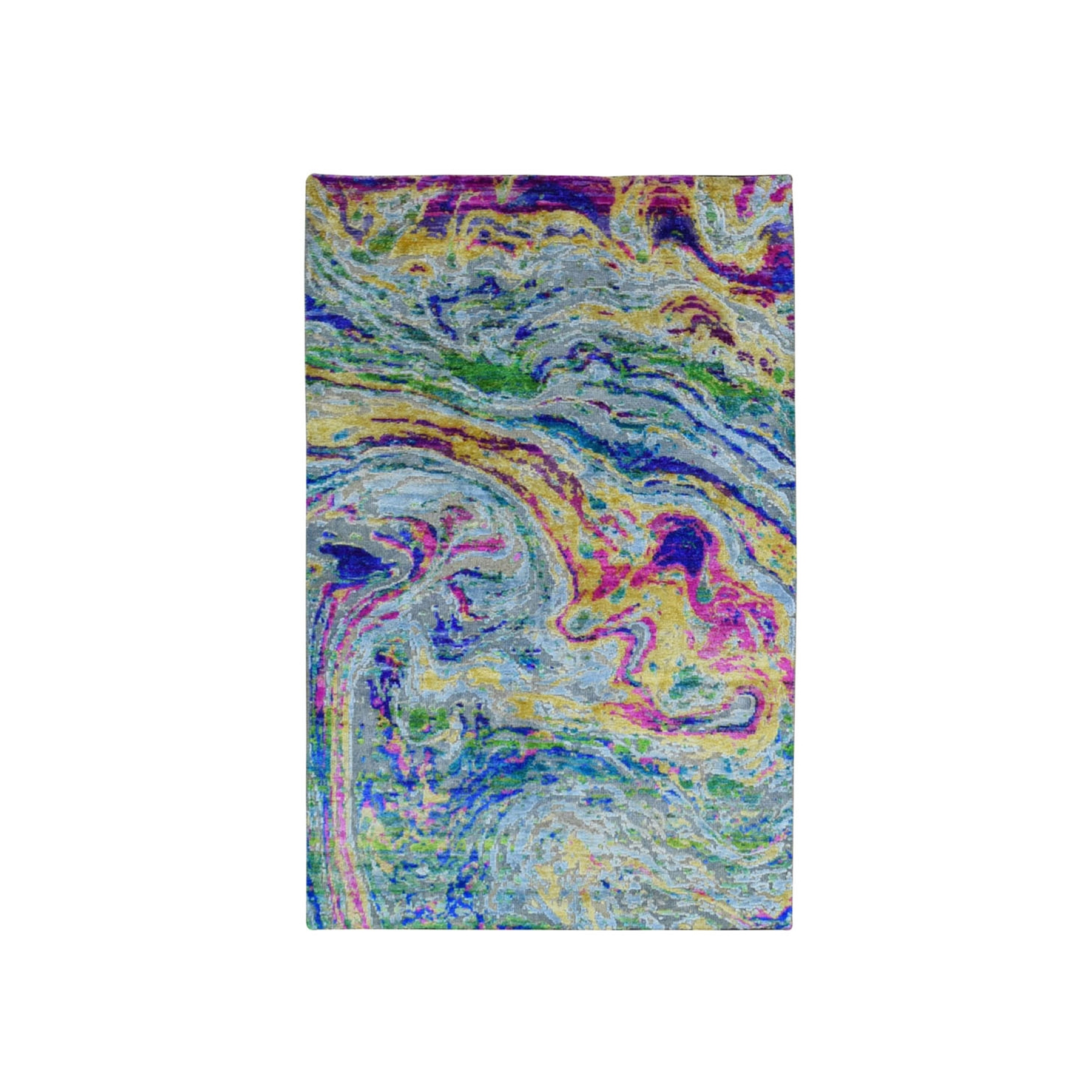 3'x5' THE LAVA, Colorful Sari Silk with Textured Wool Hand Knotted Oriental Rug