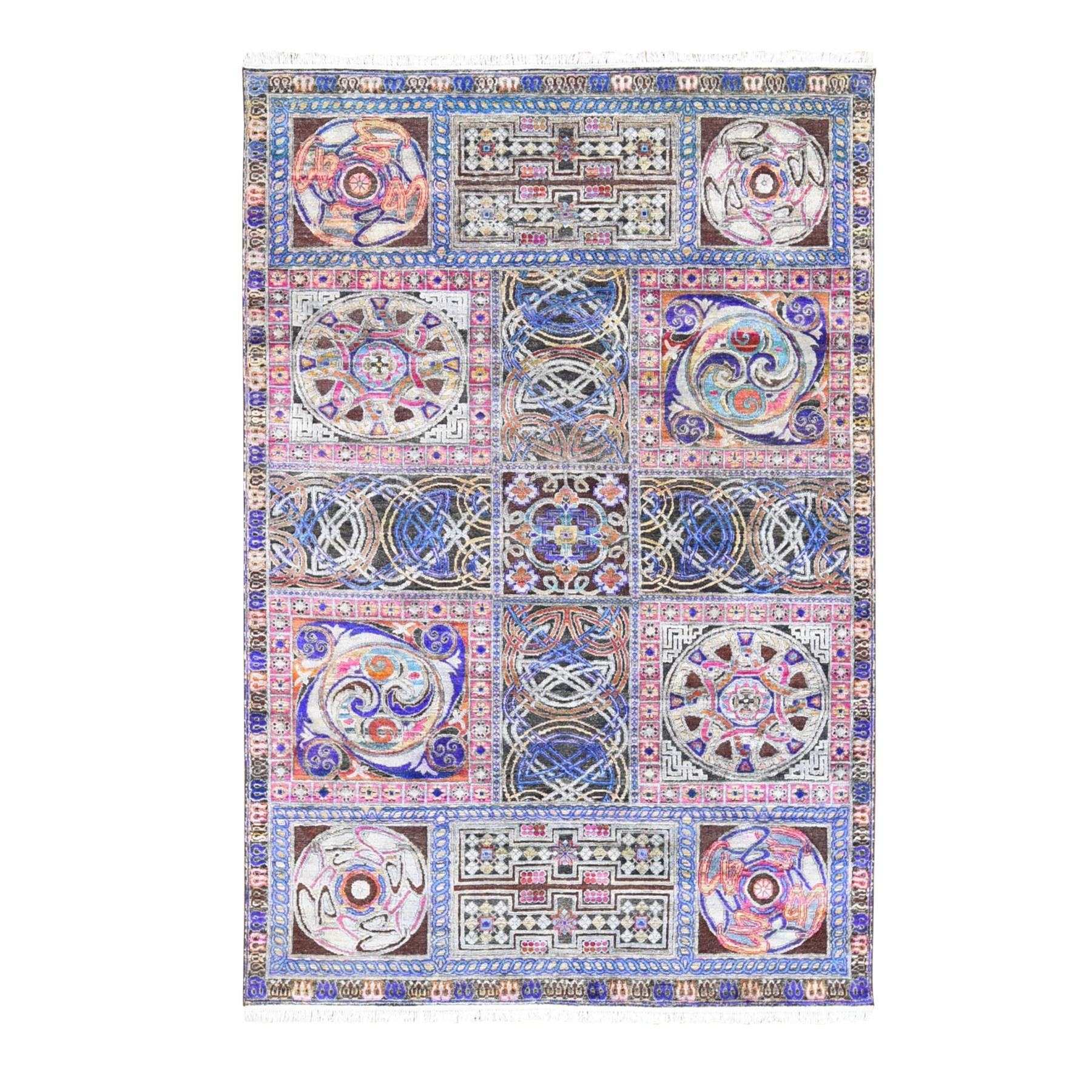 "6'1""x9' Sari Silk with Textured Wool Arts and Crafts Block Design Hand Knotted Oriental Rug"