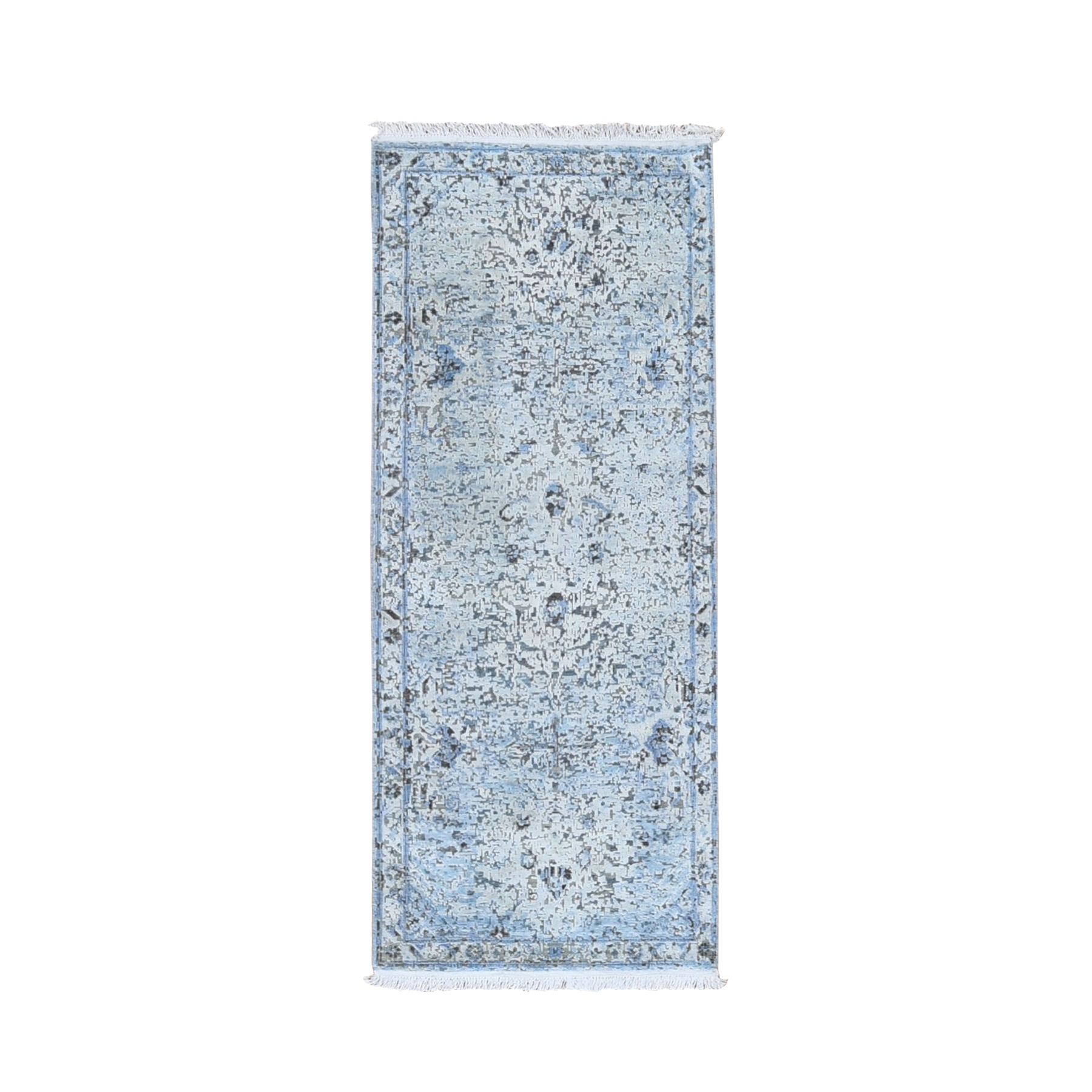 """2'5""""X5'10"""" Ivory Distressed Oushak Pure Silk With Textured Wool Hand Knotted Runner Oriental Rug moae9d8d"""