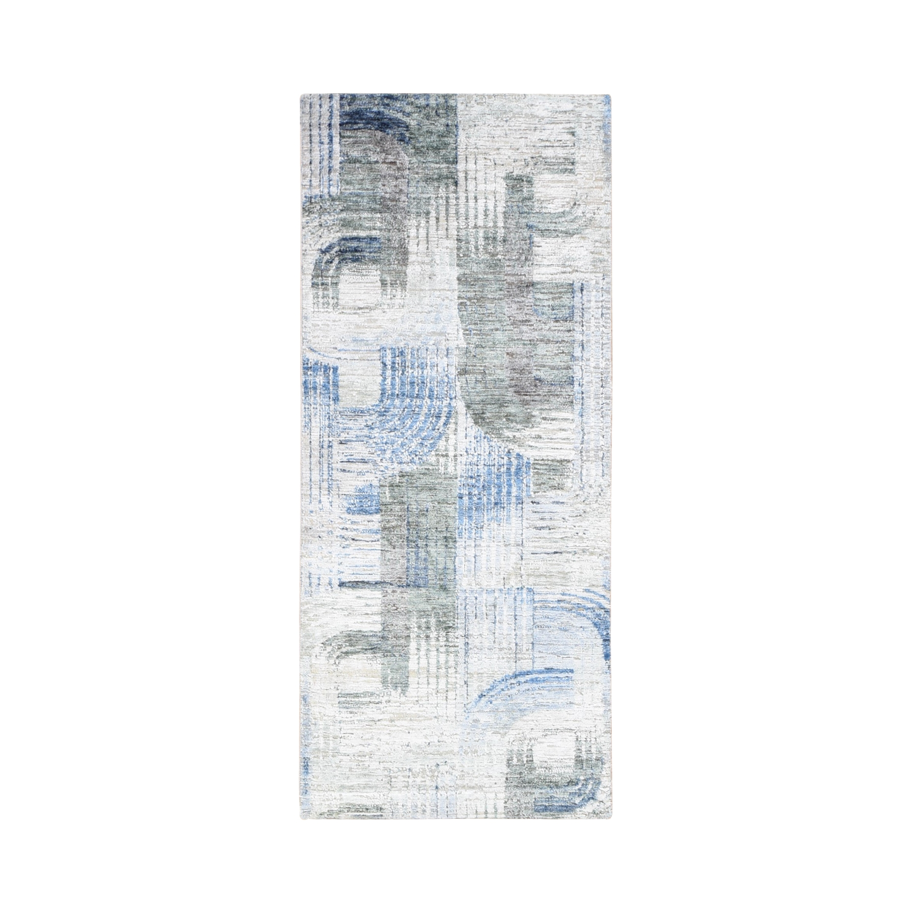 """2'7""""X6' The Intertwined Passage, Silk With Textured Wool Hand Knotted Runner Oriental Rug moae9e00"""