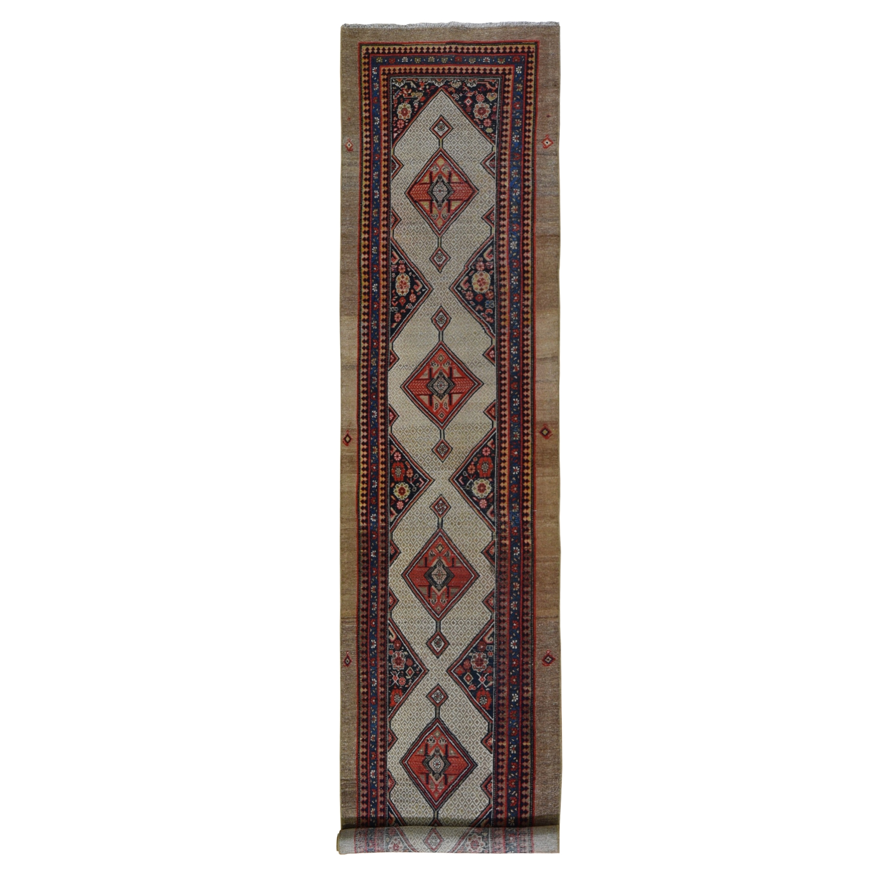 """3'2""""X15'9"""" Antique Persian Serab Wide Xl Runner Even Wear Good Condition Pure Wool Hand Knotted Oriental Rug moae9eaa"""