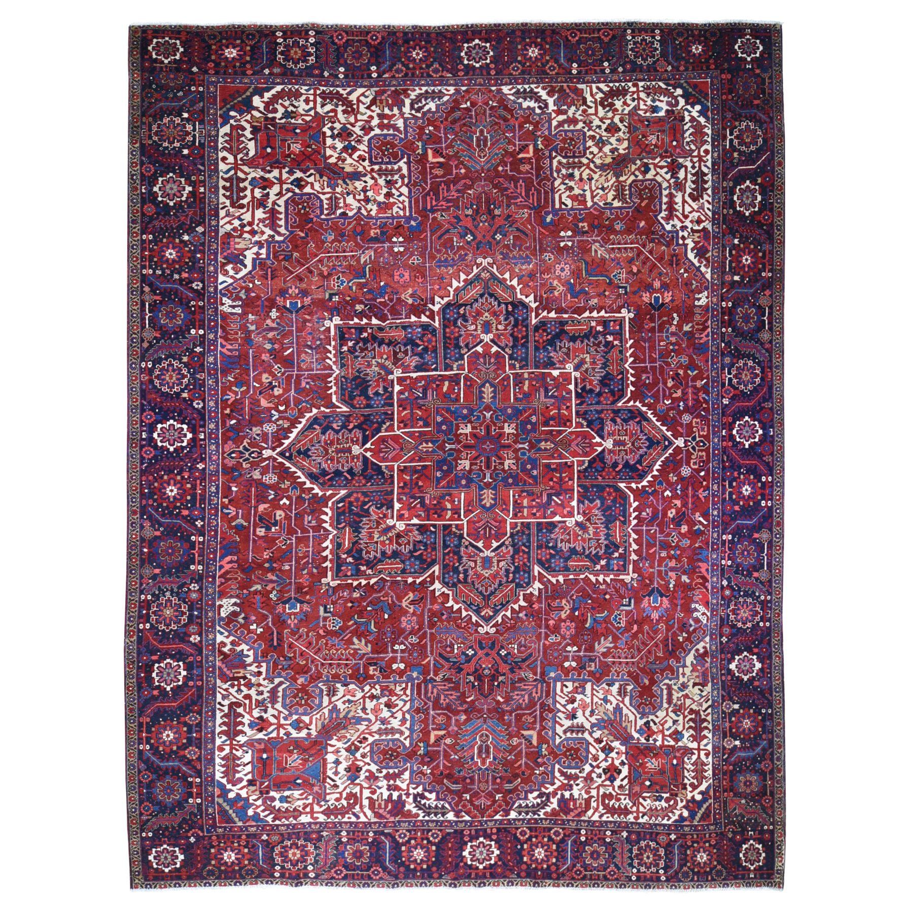"""11'7""""x15' Red Vintage Oversized Persian Heriz Slight Wear Clean Hand Knotted Pure Wool Oriental Rug"""