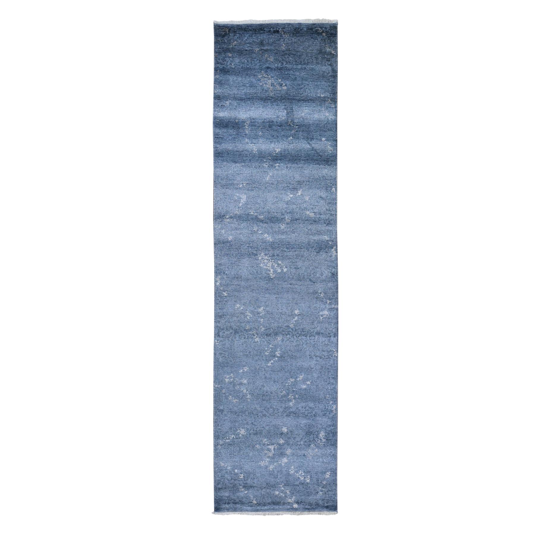 """3'x11'9"""" Dark Grey Hand Knotted Art Silk Modern Wide Runner Oriental Rug"""