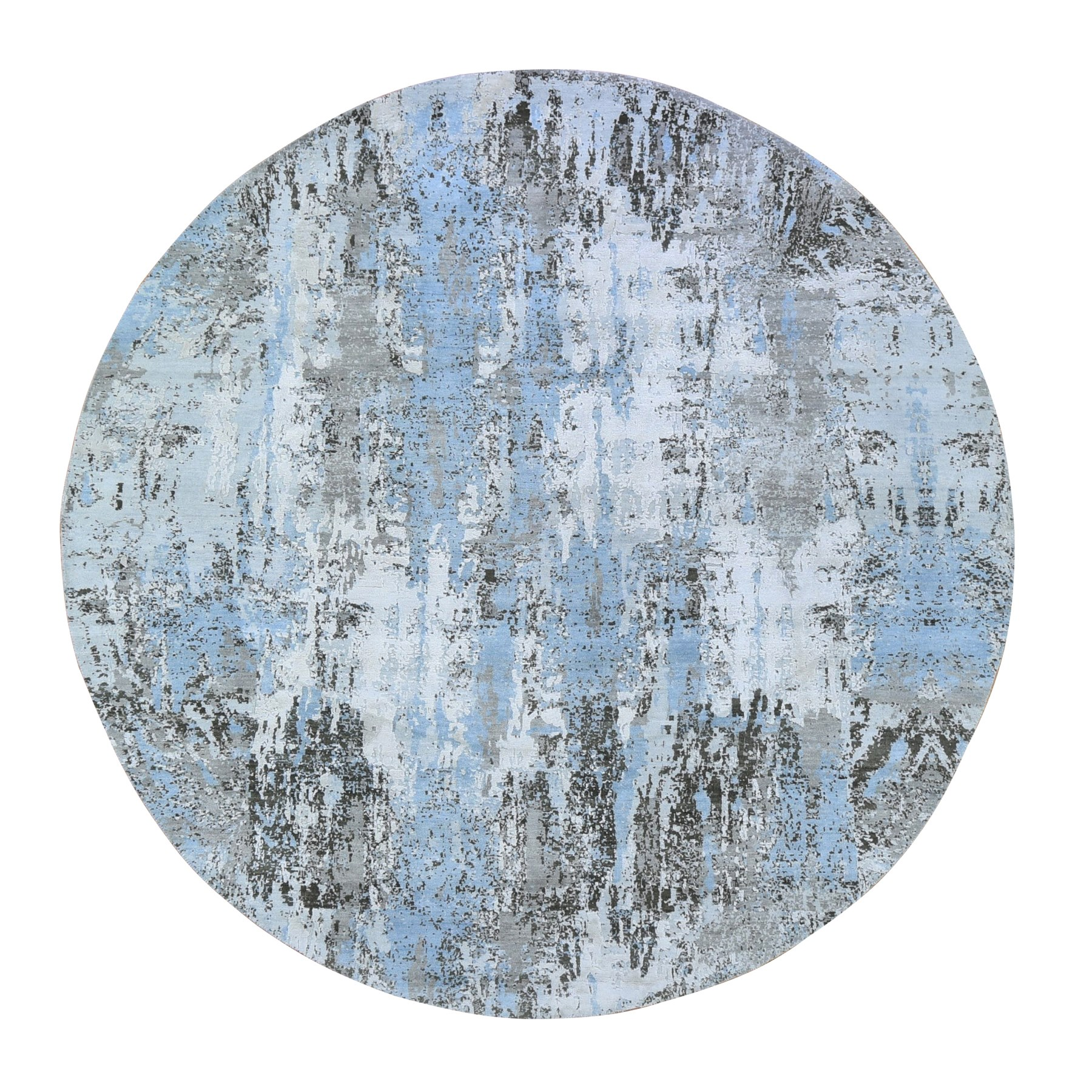 "8'1""x8'1"" Baby Blue Wool with Real Silk Abstract Design Denser Weave Hi-Low Pile Hand Knotted Round Oriental Rug"