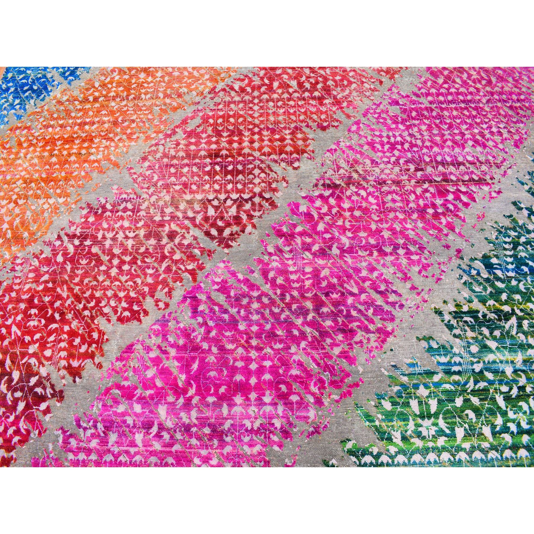 """9'x12'1"""" Pink and More Sari Silk with Diagonal Design Modern Hand Knotted Oriental Rug"""